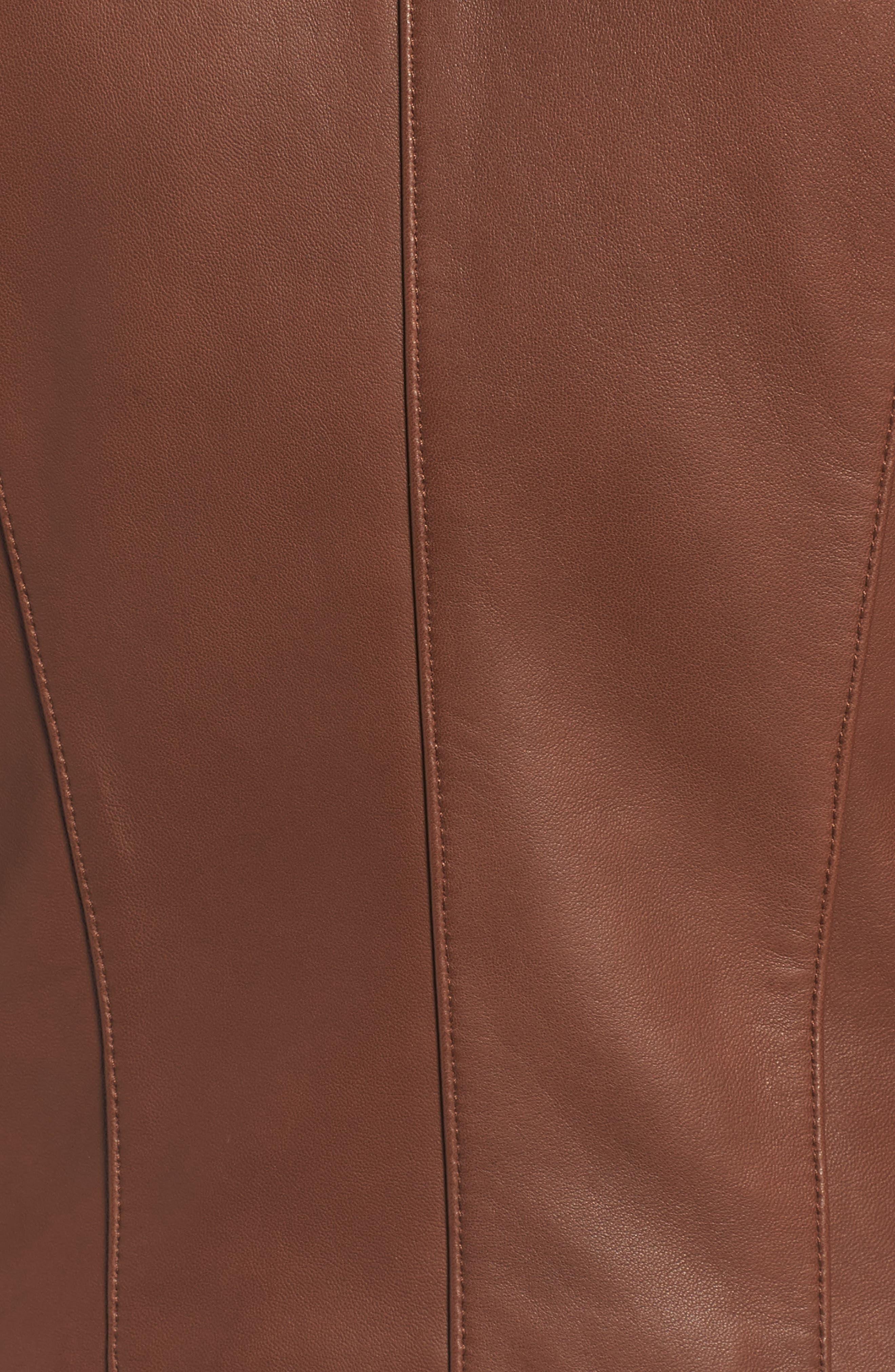 Leather Moto Jacket,                             Alternate thumbnail 5, color,                             Chestnut