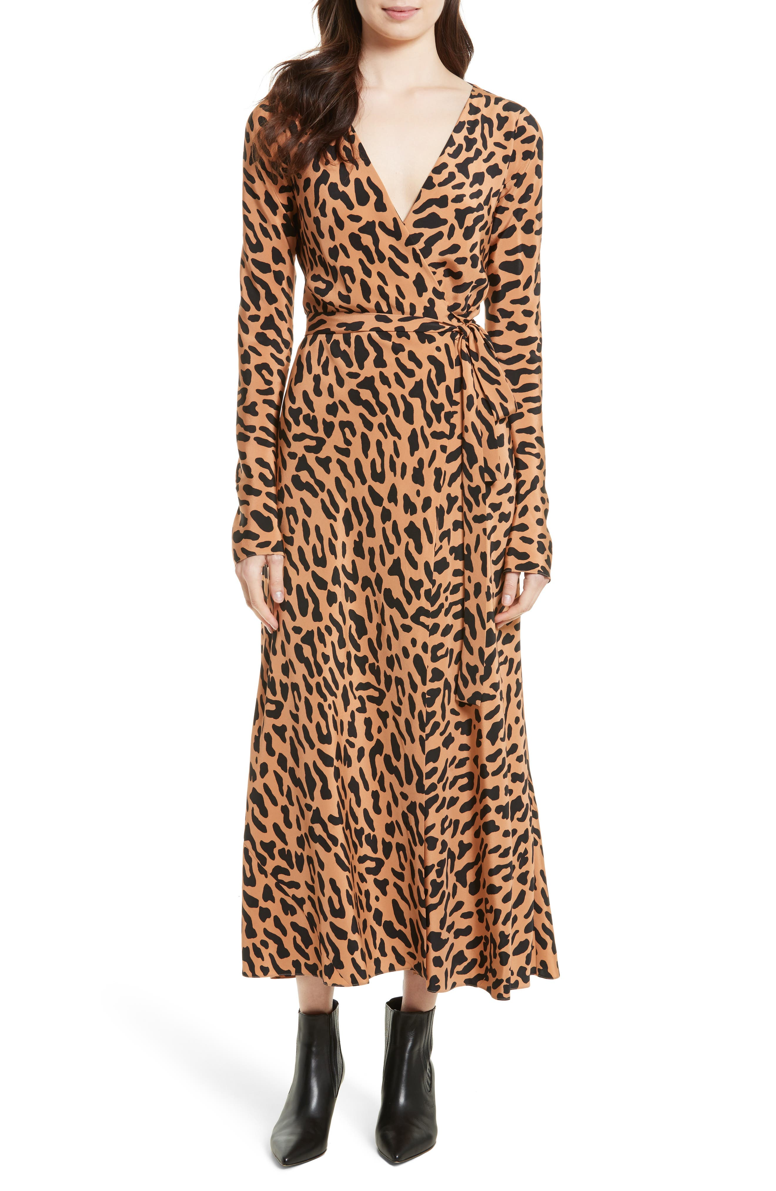 Alternate Image 1 Selected - Diane von Furstenberg Midi Print Silk Wrap Dress