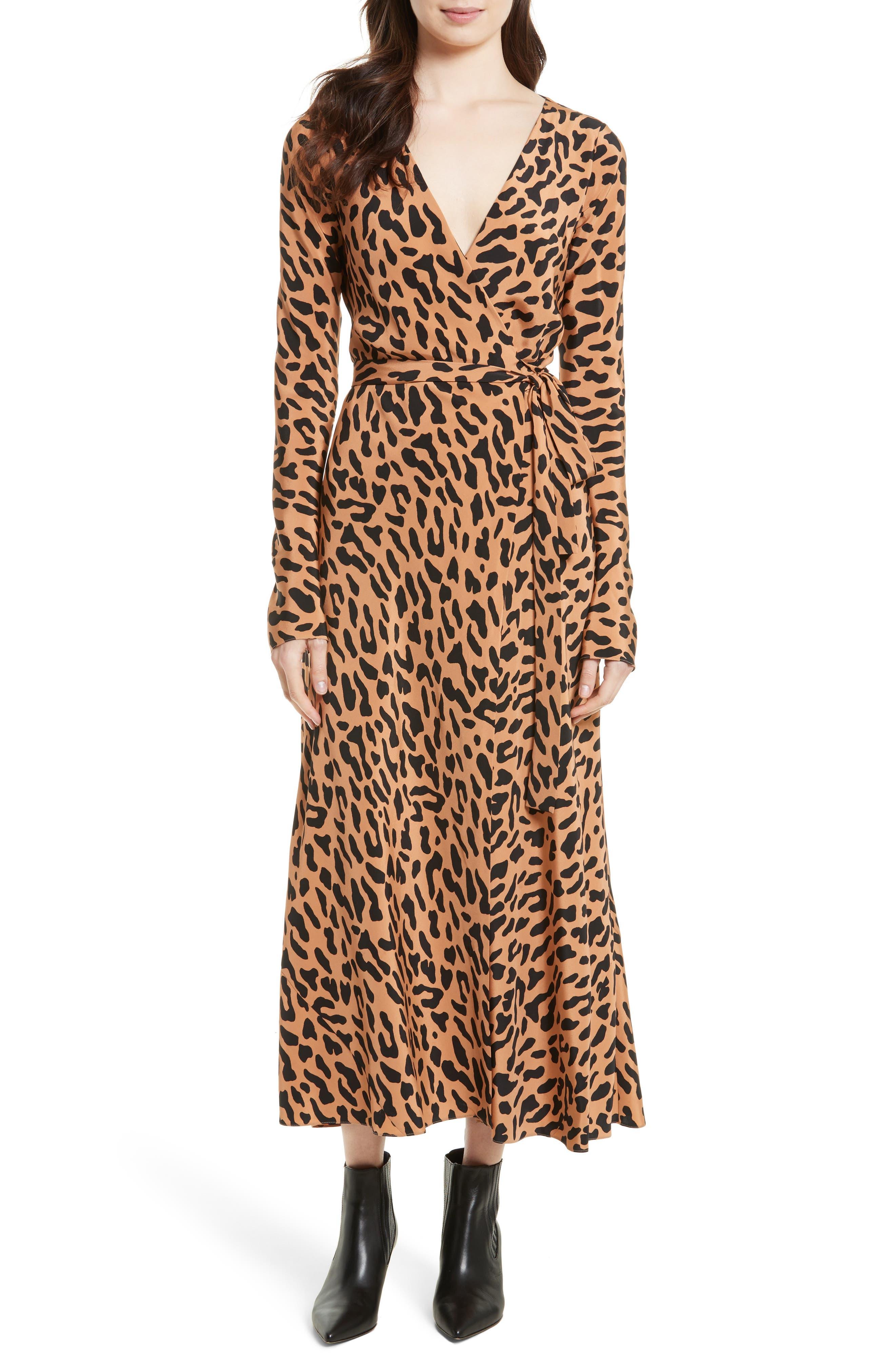 Midi Print Silk Wrap Dress,                         Main,                         color, Belmont Camel