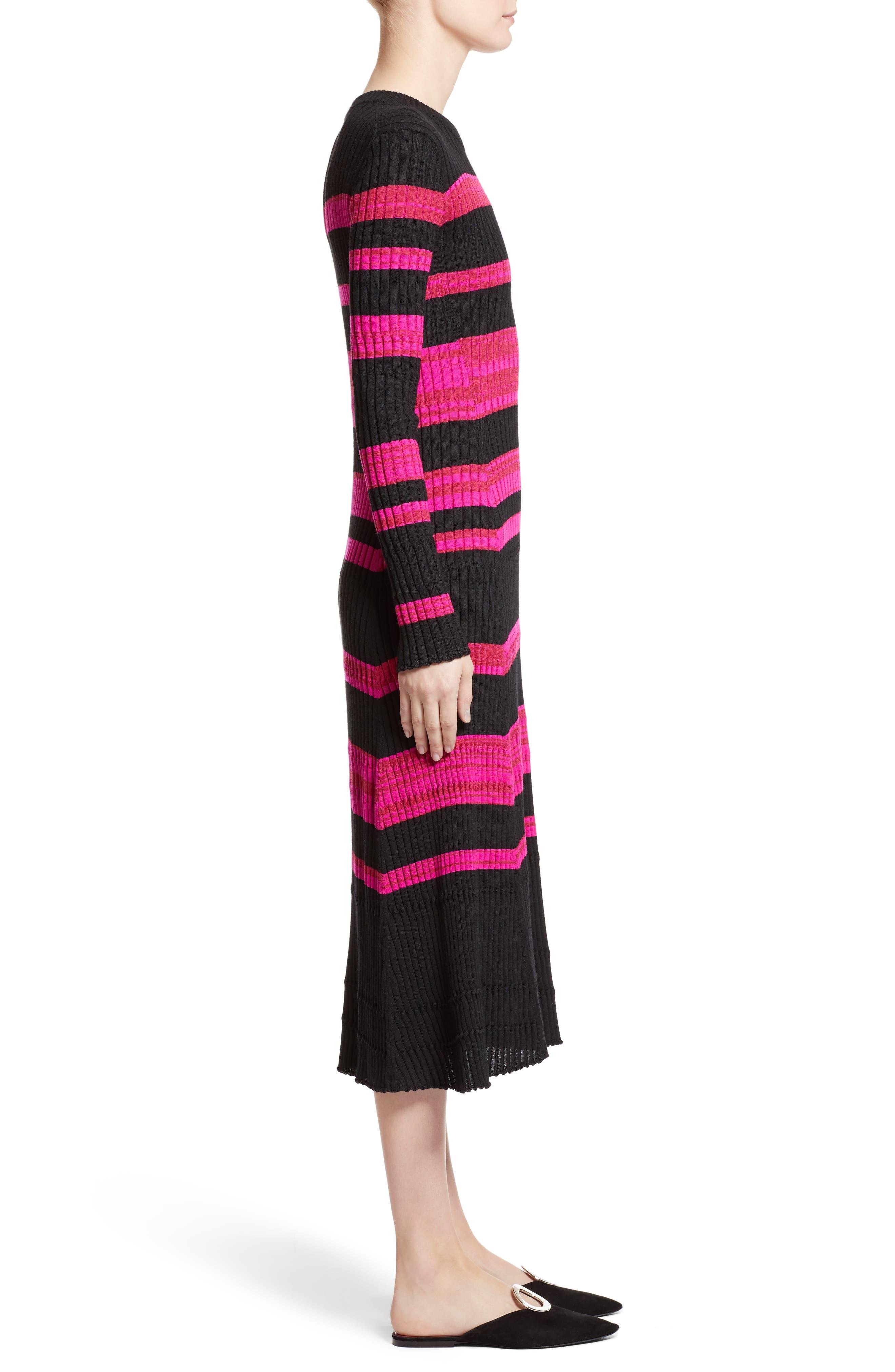 Stripe Cashmere, Wool & Silk Midi Dress,                             Alternate thumbnail 4, color,                             Black/ Electric Pink Multi