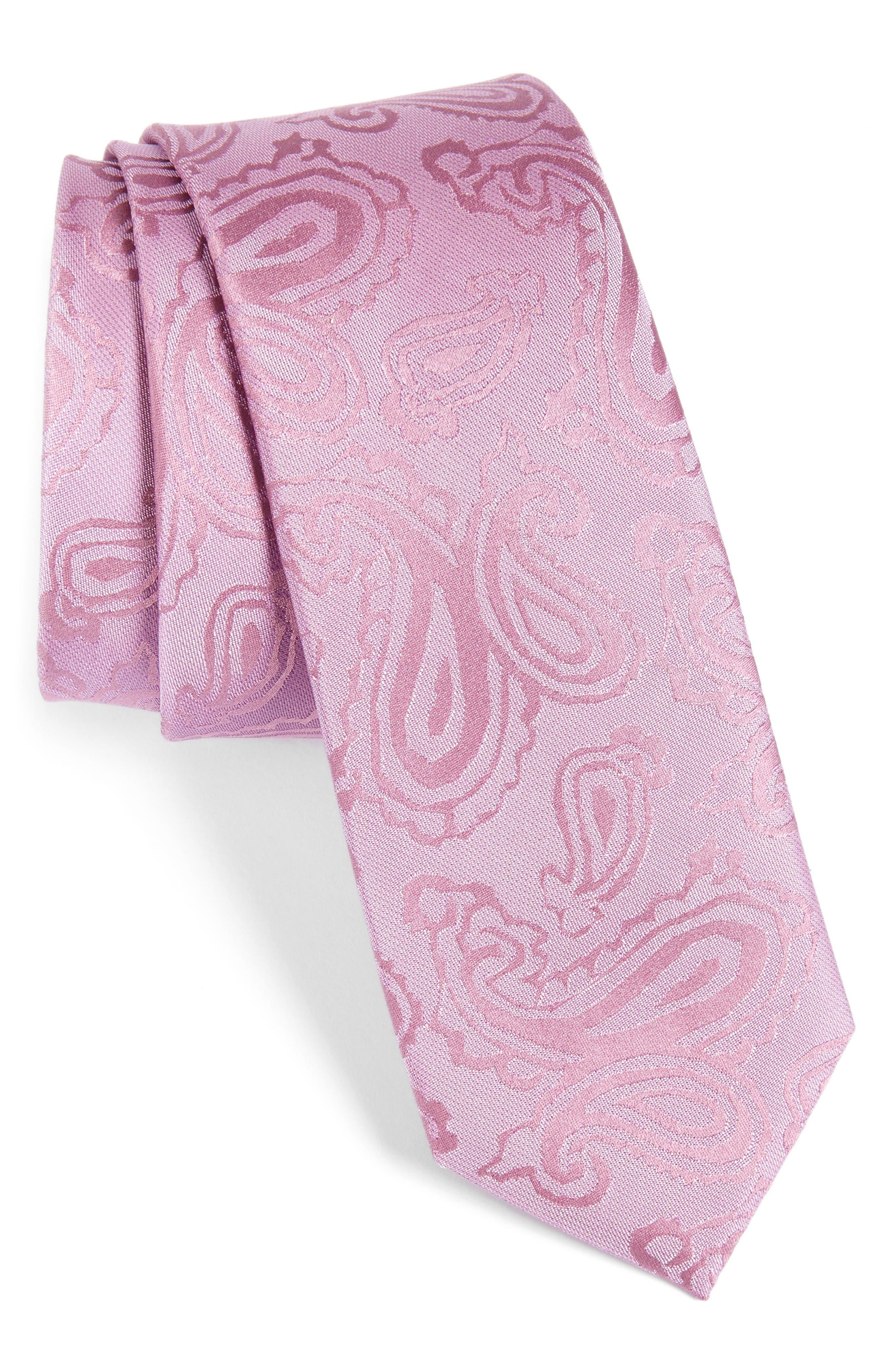 Paisley Silk Skinny Tie,                         Main,                         color, Pink