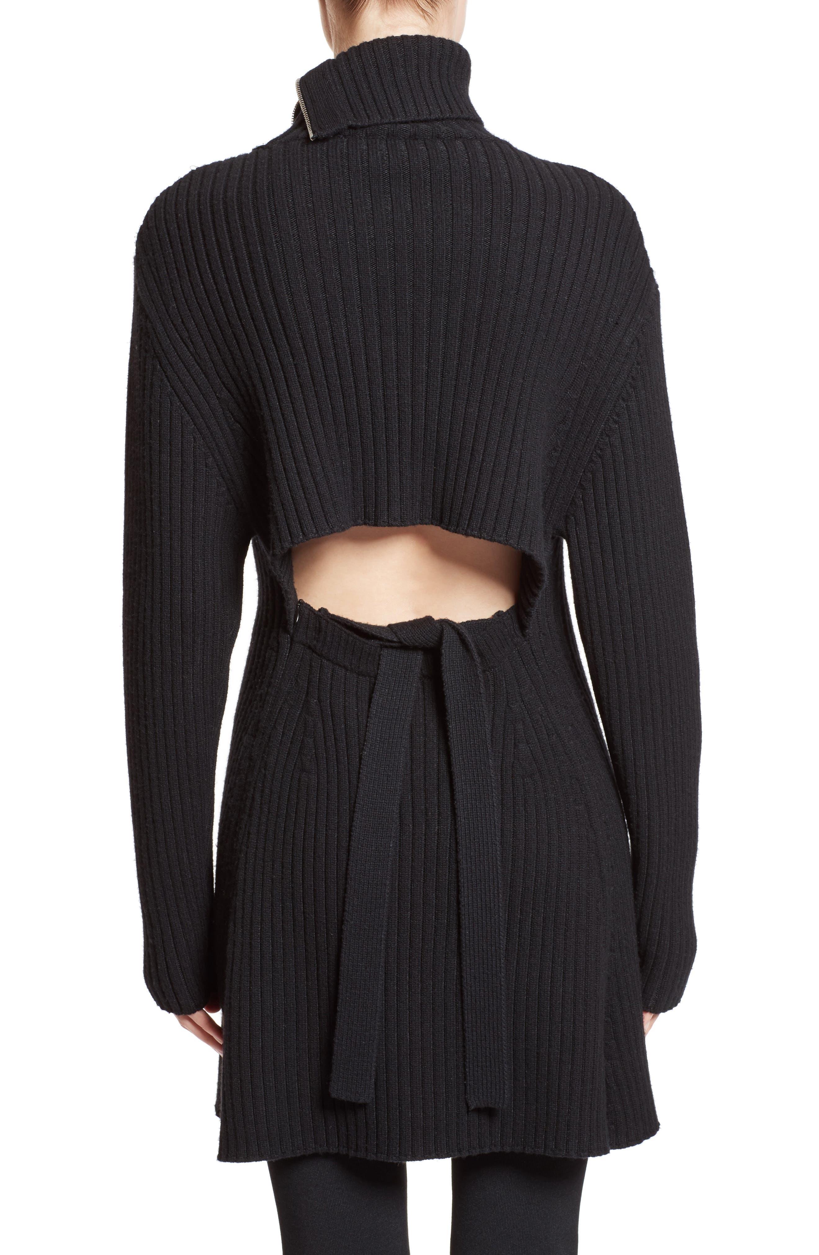 Wool & Cashmere Blend Turtleneck Dress,                             Alternate thumbnail 2, color,                             Black