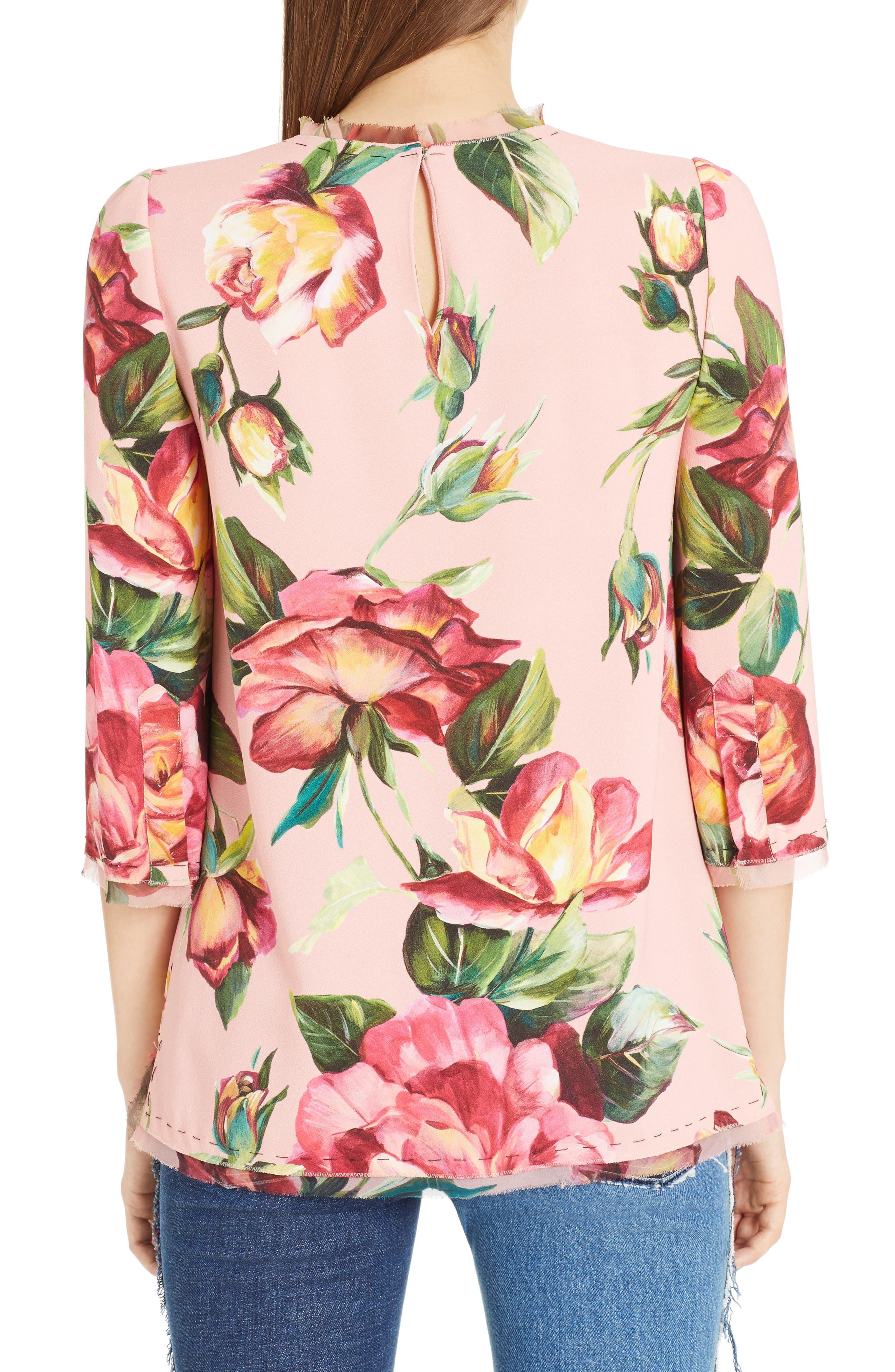 Alternate Image 2  - Dolce&Gabbana Rose Print Cady Blouse