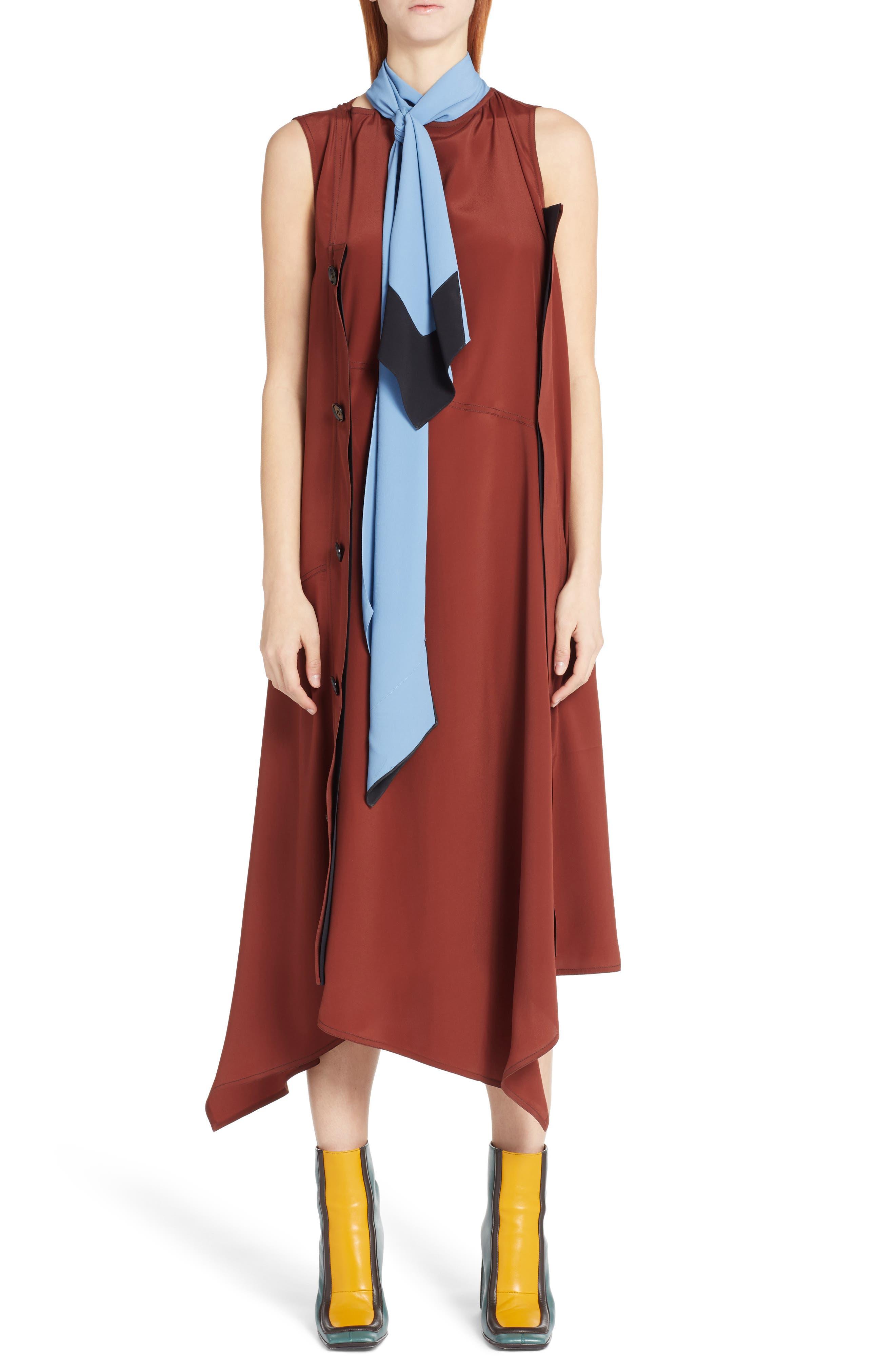 Tie Neck Side Button Dress,                         Main,                         color, Port Red
