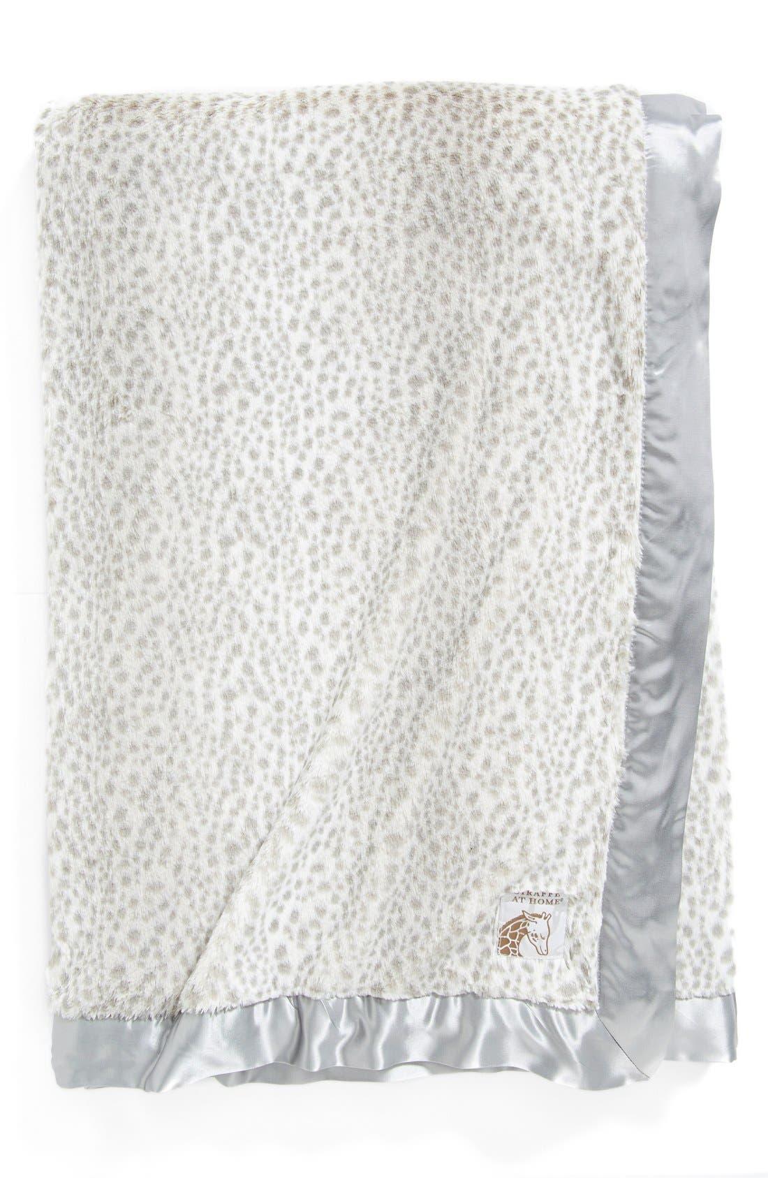 'Luxe Snow Leopard - Double' Faux Fur Throw,                             Main thumbnail 1, color,                             Silver