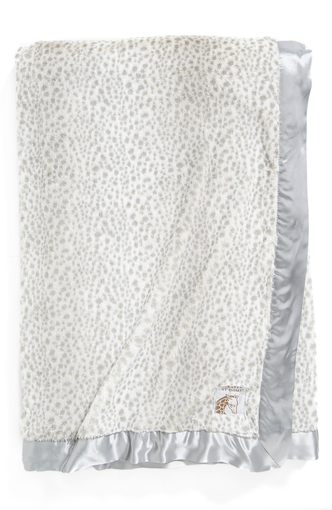 'Luxe Snow Leopard - Double' Faux Fur Throw,                         Main,                         color, Silver