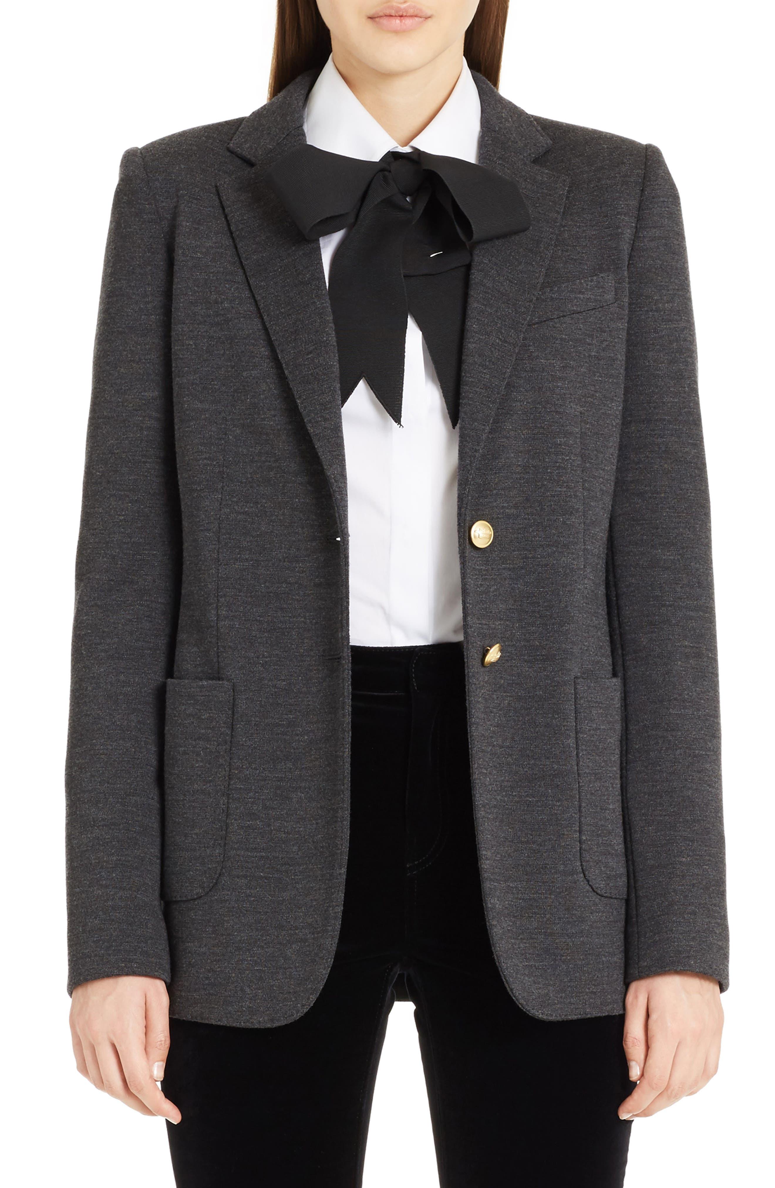 Punto Milano Wool Blazer,                             Main thumbnail 1, color,                             Grey Melange