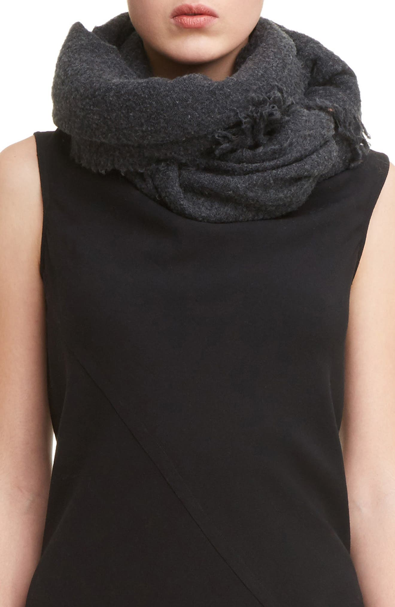 Wool Blend Scarf,                             Main thumbnail 1, color,                             Anthracite