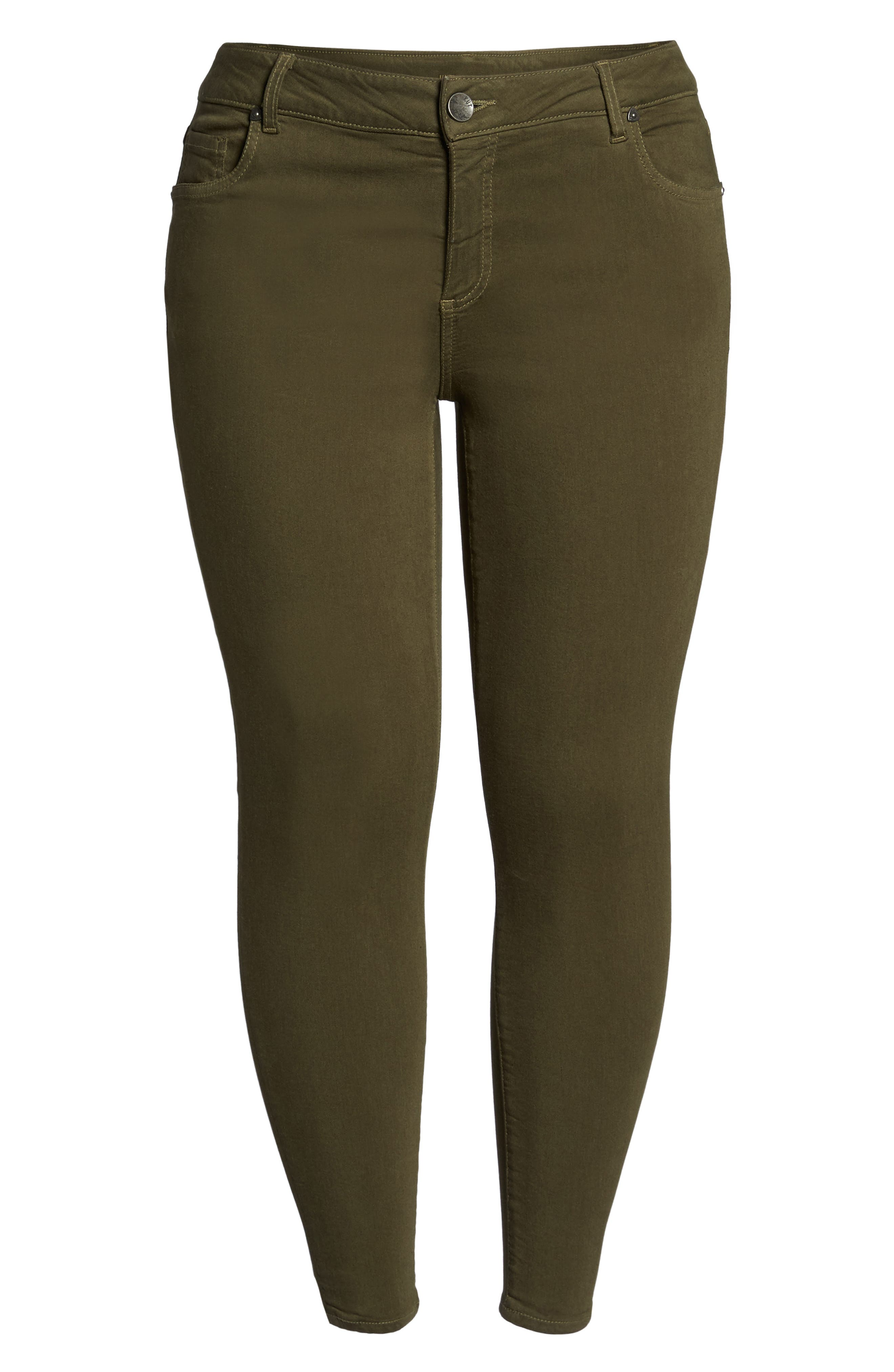 Donna Colored Stretch Skinny Jeans,                             Alternate thumbnail 6, color,                             Olive