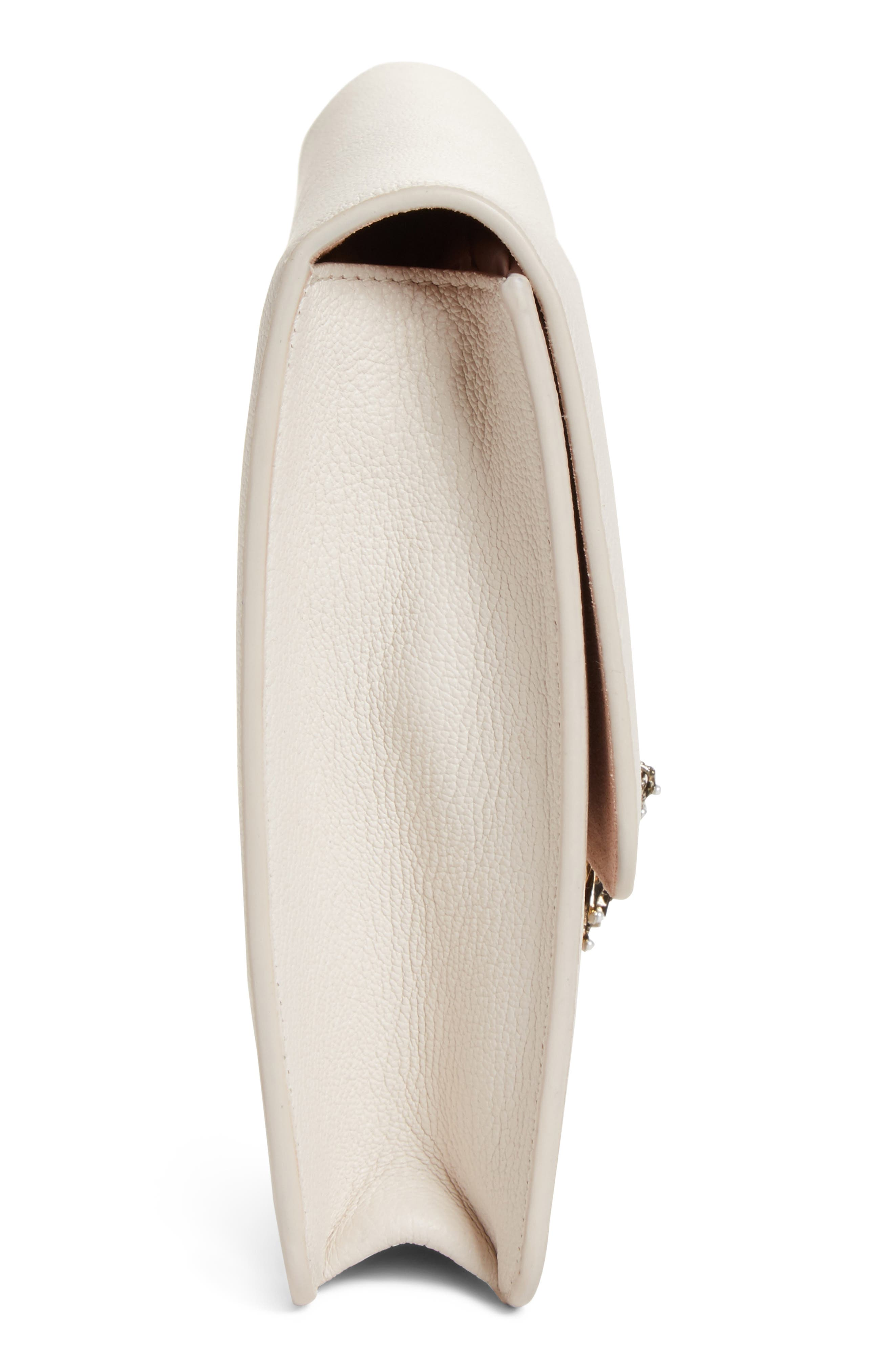 Heart Leather Clutch,                             Alternate thumbnail 5, color,                             Off White