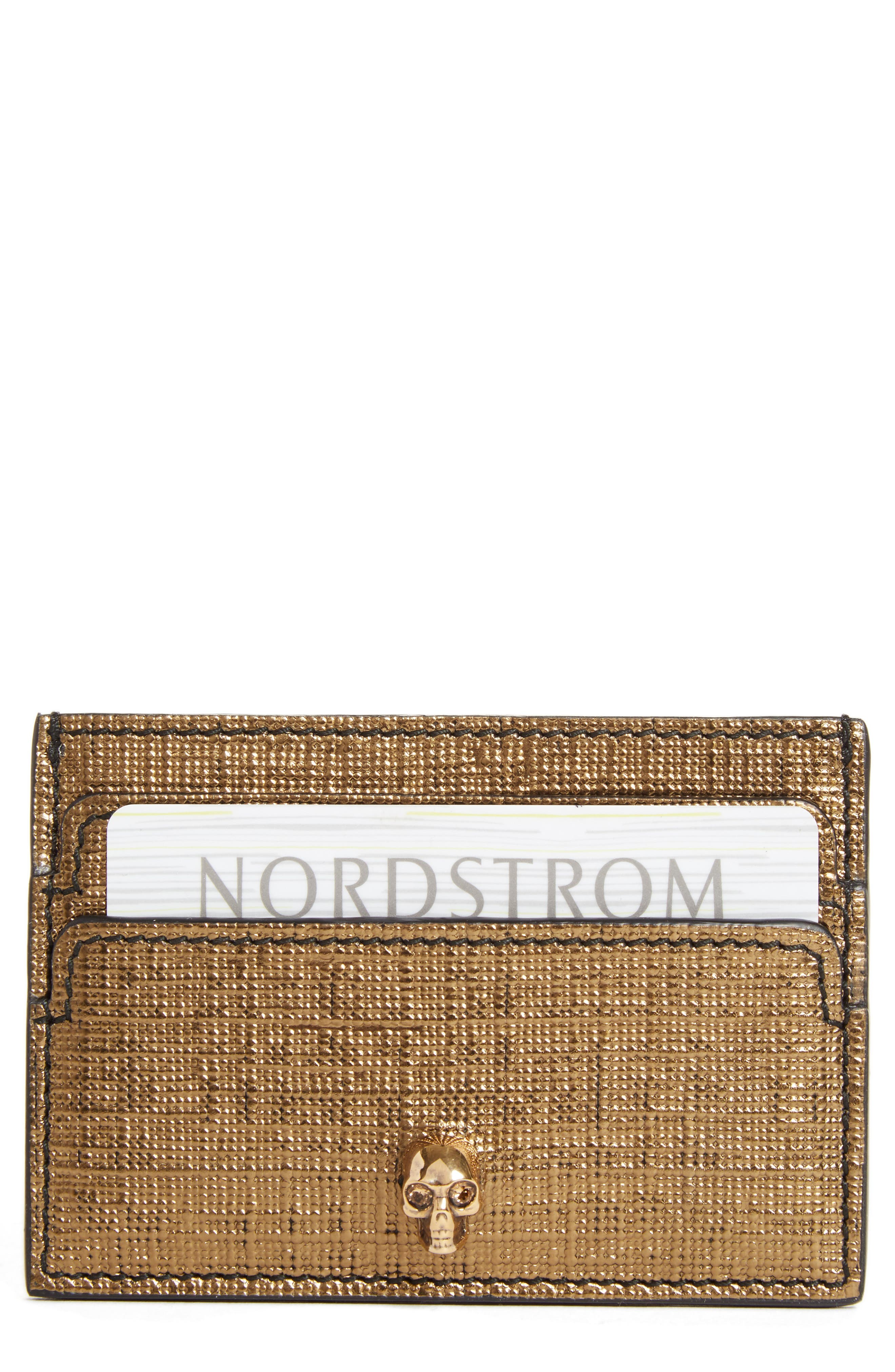 Textured Leather Card Case,                         Main,                         color, Gold
