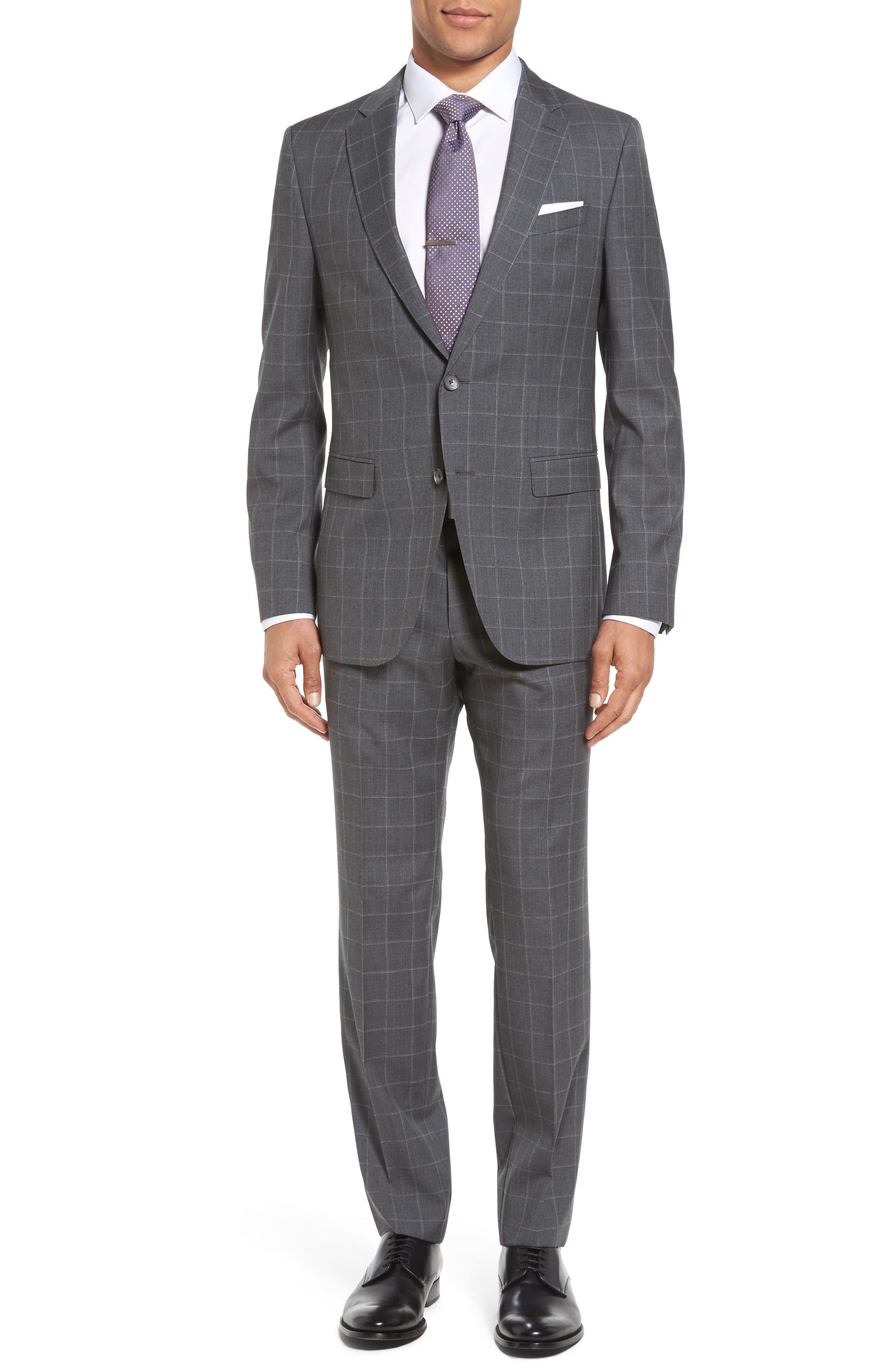 BOSS Novan/Ben 5 Trim Fit Windowpane Wool Suit