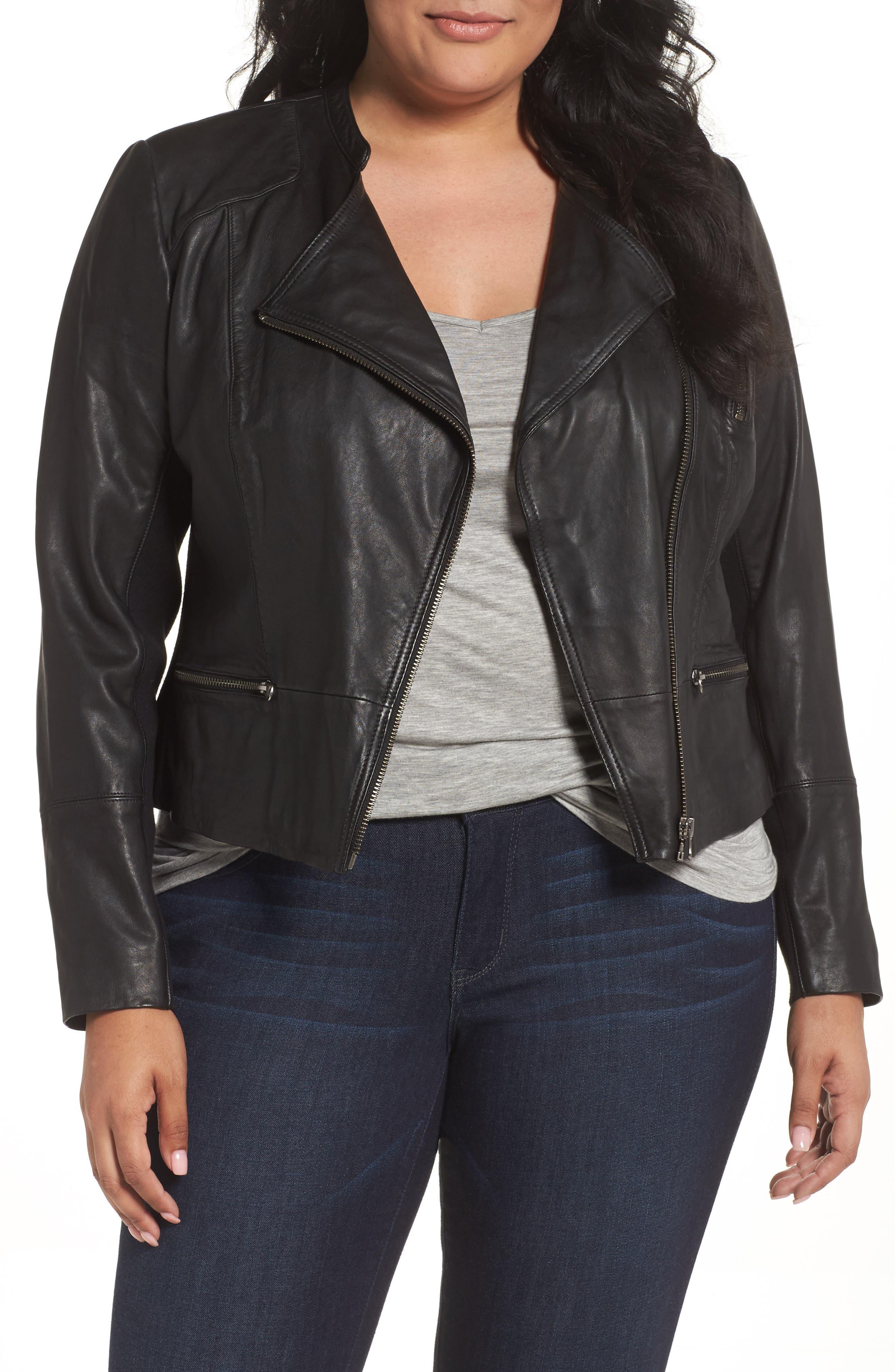 Sejour Leather Moto Jacket (Plus Size)