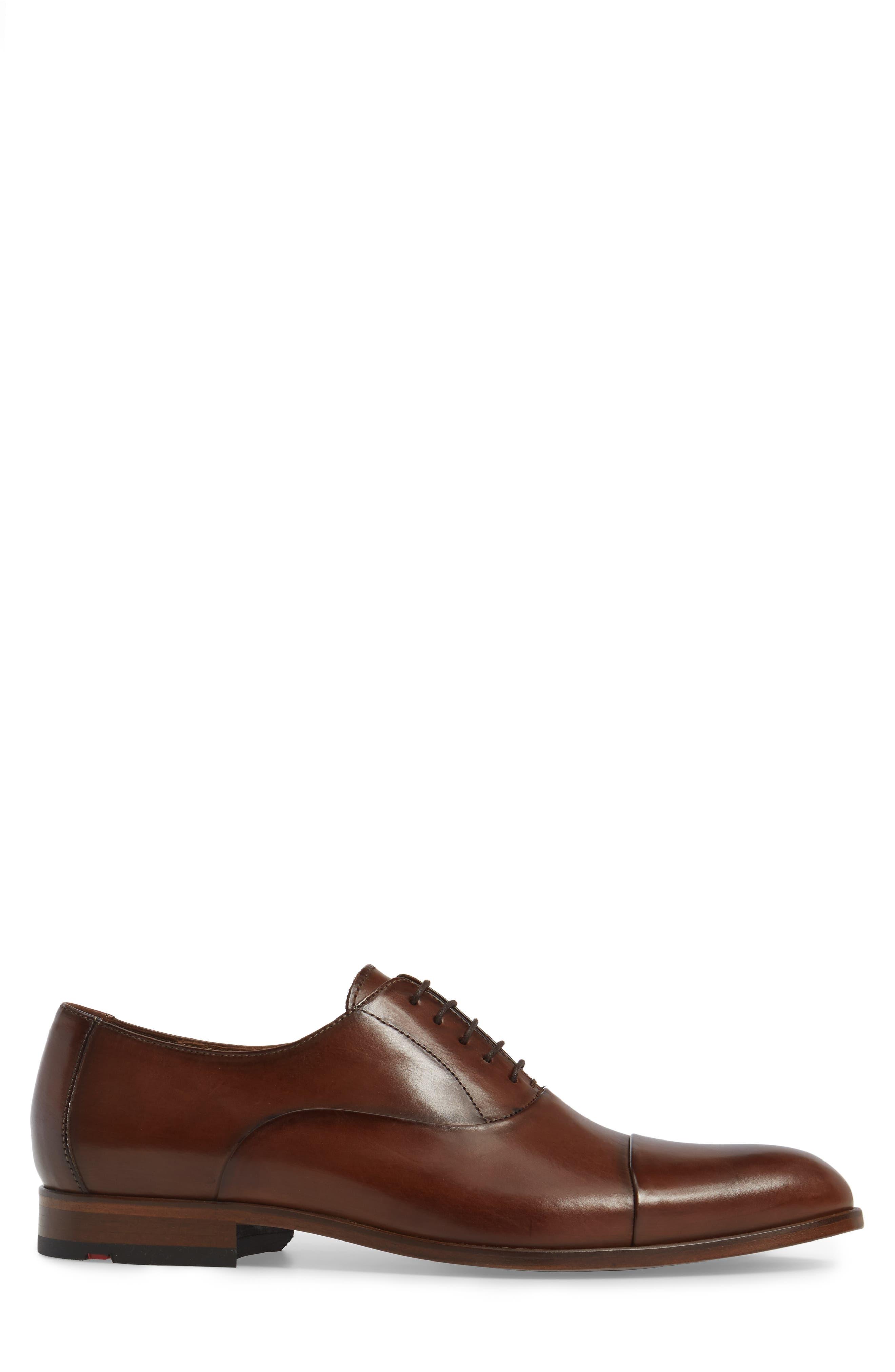 Malik Cap-Toe Oxford,                             Alternate thumbnail 3, color,                             Brown Leather