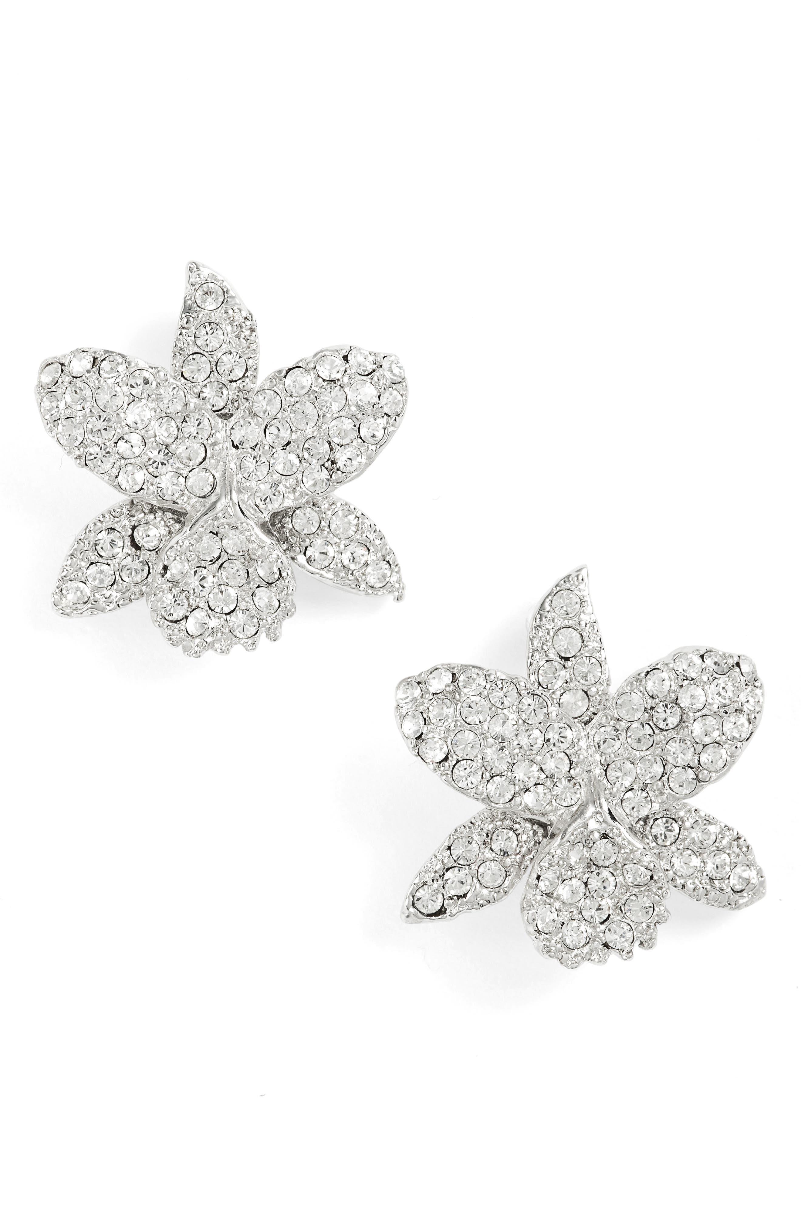 Nina Small Orchid Crystal Stud Earrings
