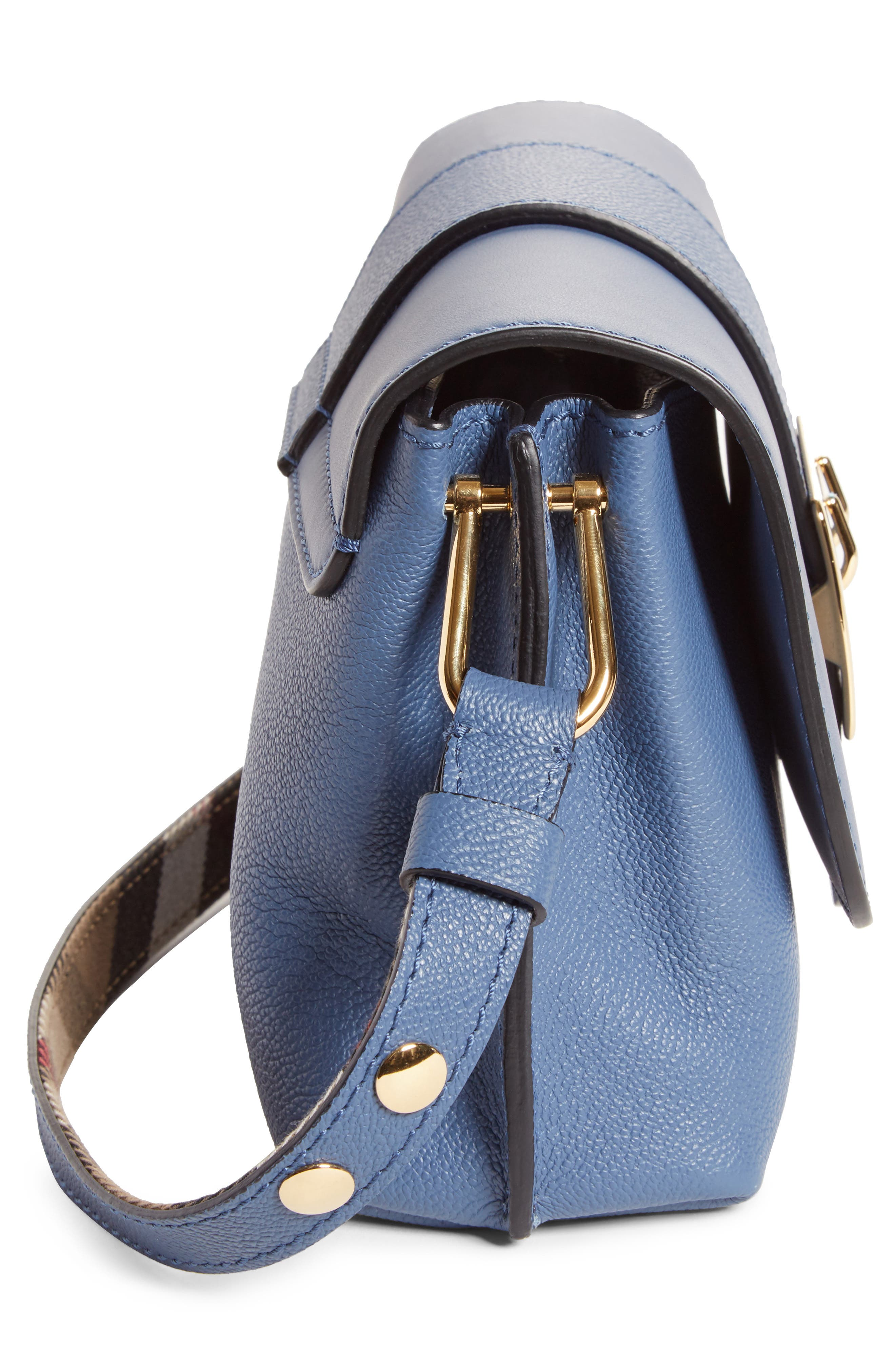 Small Buckle Leather Crossbody Bag,                             Alternate thumbnail 5, color,                             Slate Blue