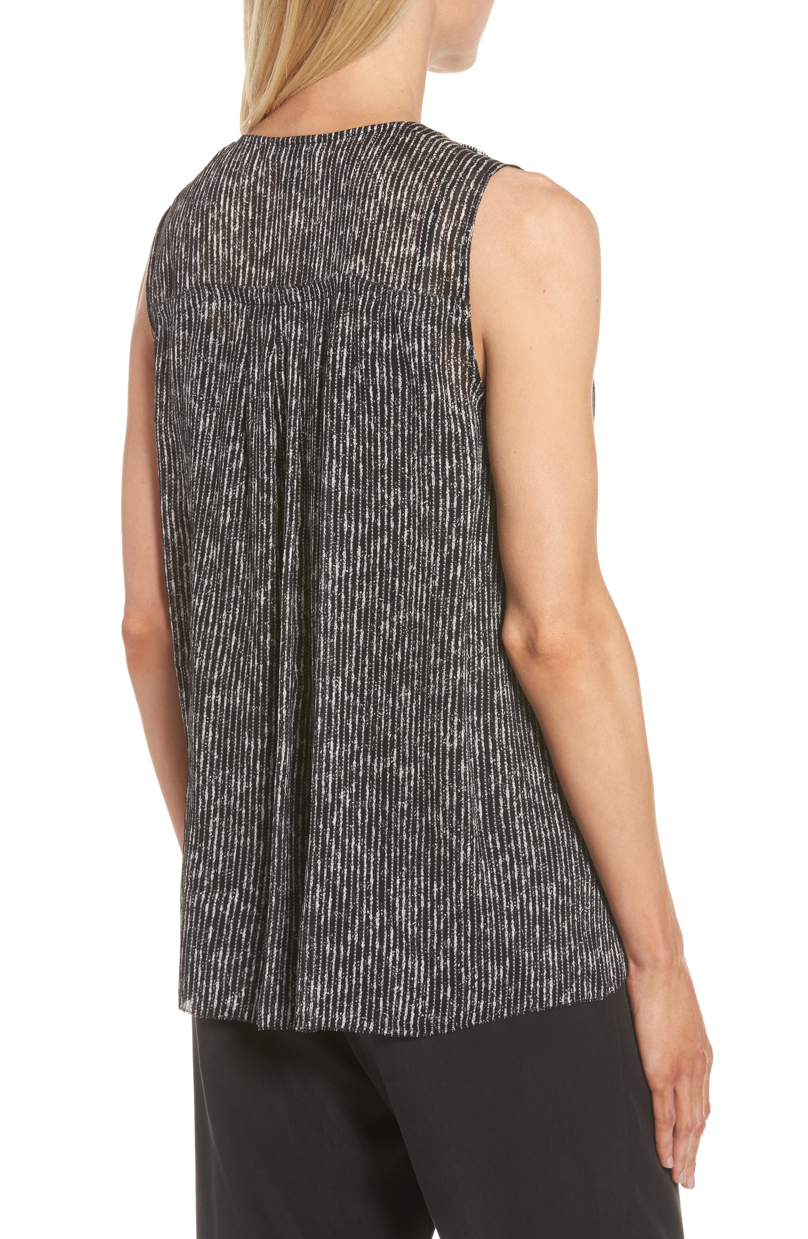 Print Silk Tank,                             Alternate thumbnail 2, color,                             Black