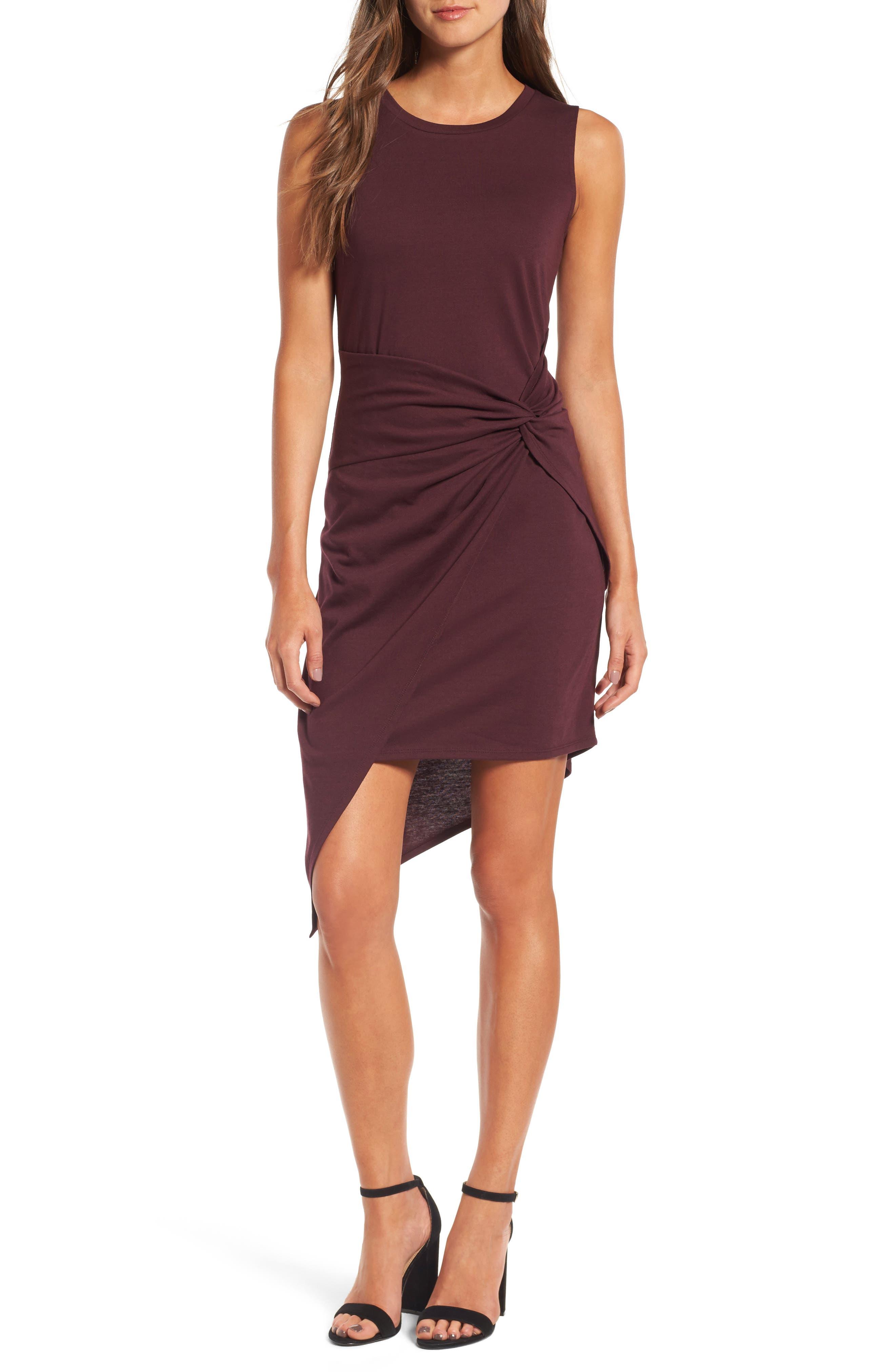 Twist Front Dress,                         Main,                         color, Burgundy Stem