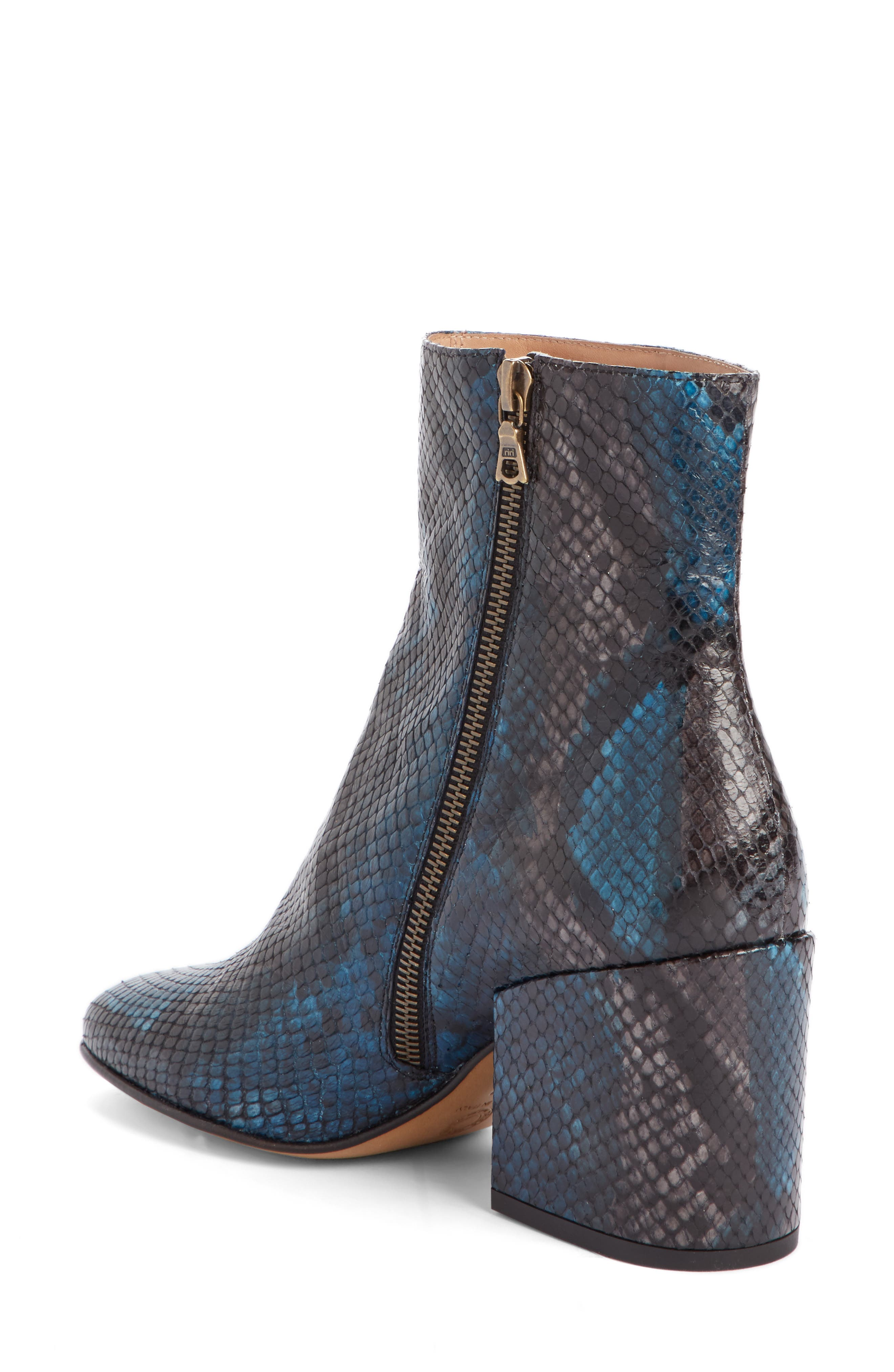 Snake Embossed Bootie,                             Alternate thumbnail 2, color,                             Blue