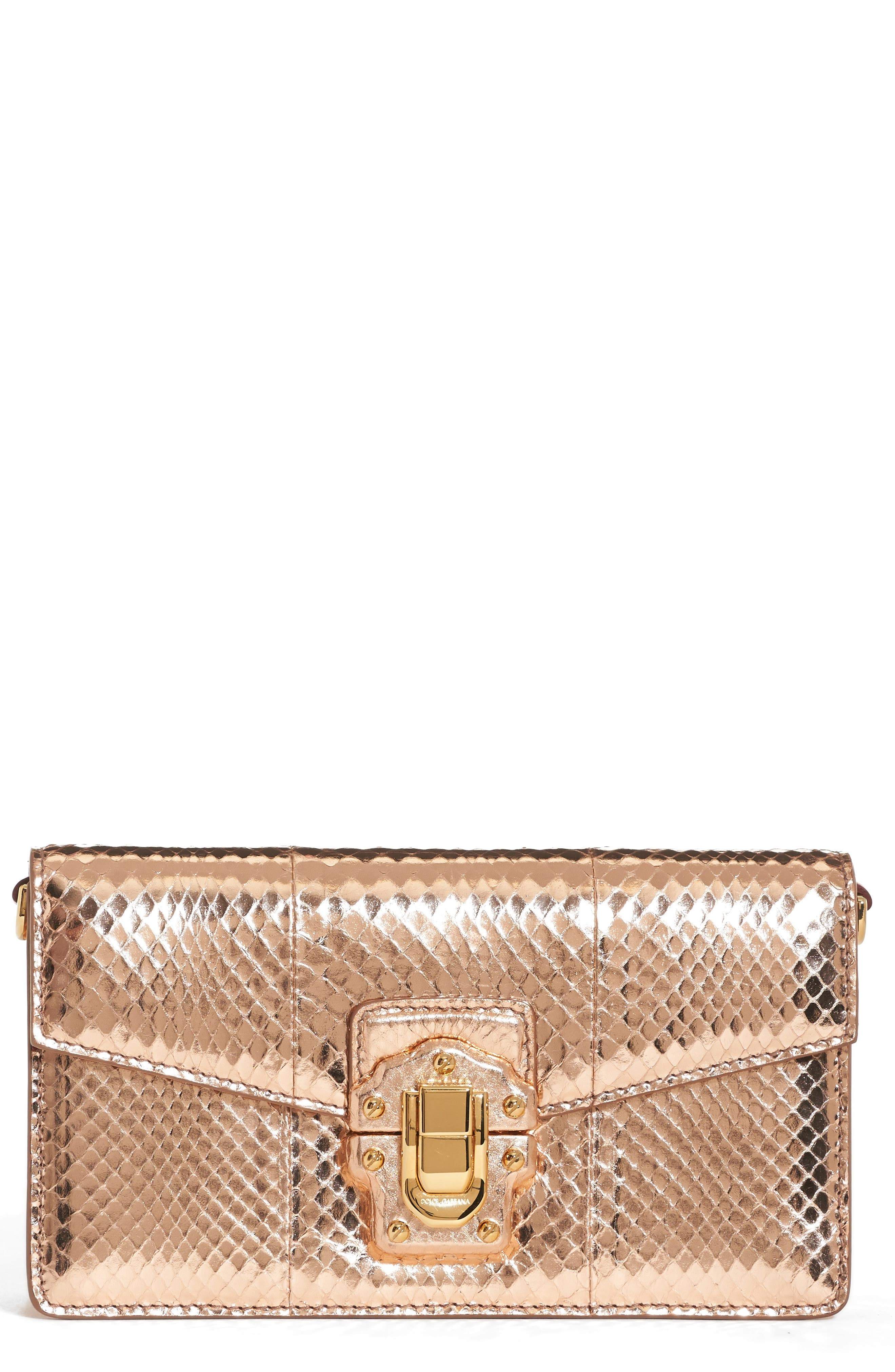 Lucia Genuine Snakeskin Crossbody Clutch,                             Main thumbnail 1, color,                             Salmon