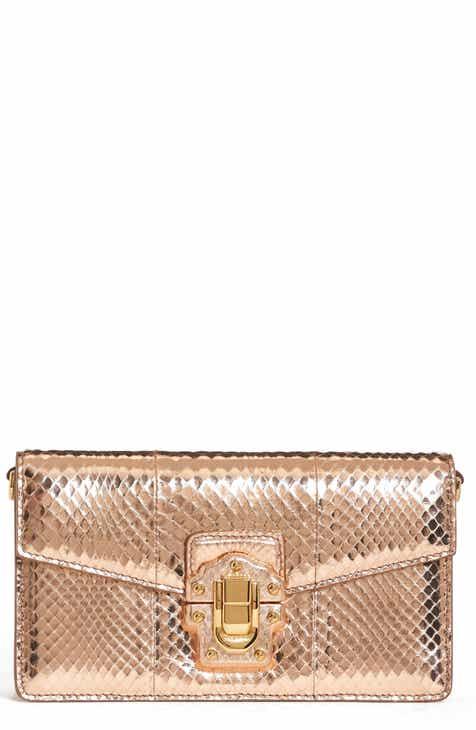 Dolce&Gabbana Lucia Genuine Snakeskin Crossbody Clutch