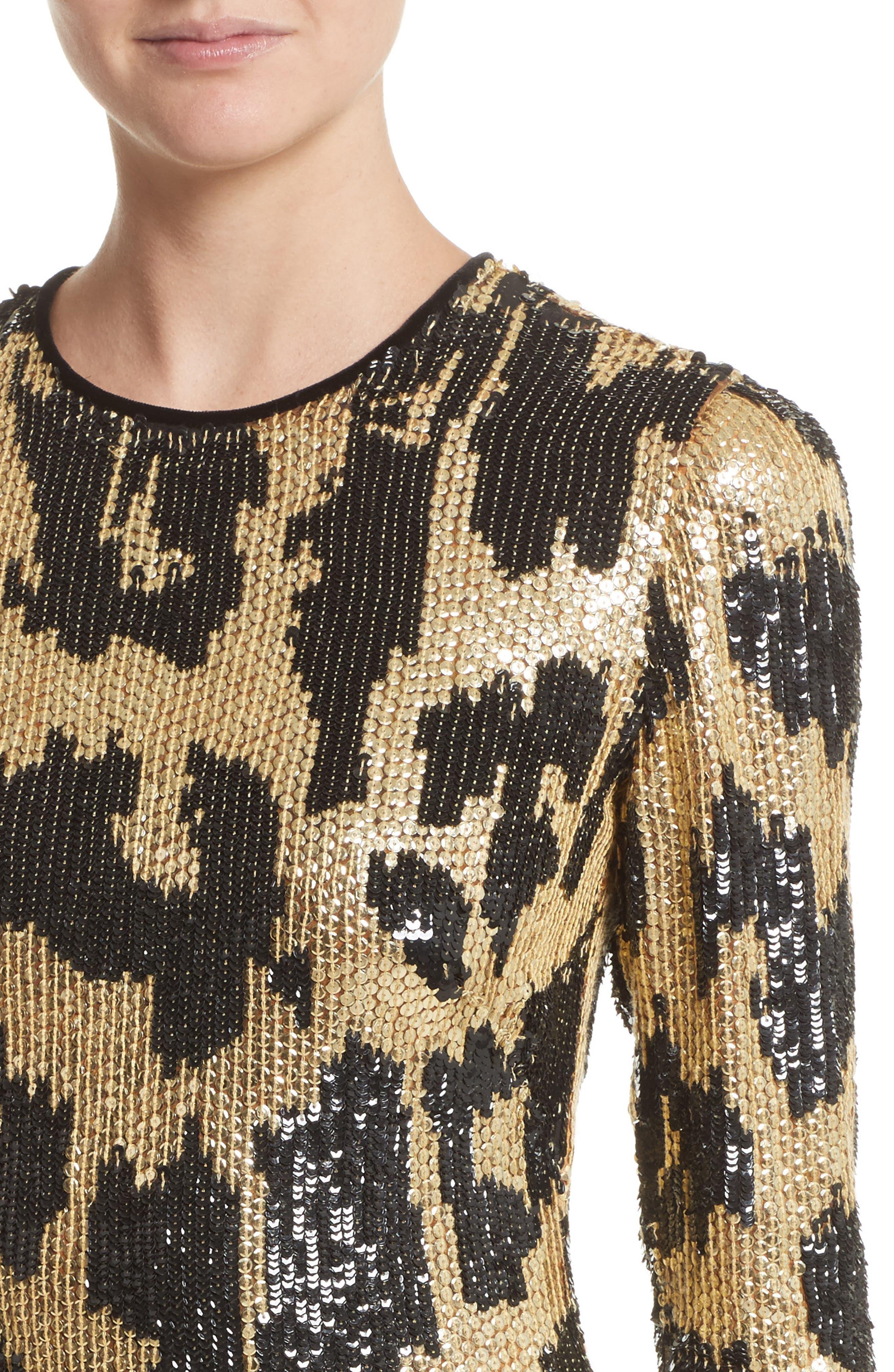 Alternate Image 4  - Naeem Khan Cheetah Print Sequin Sheath Dress