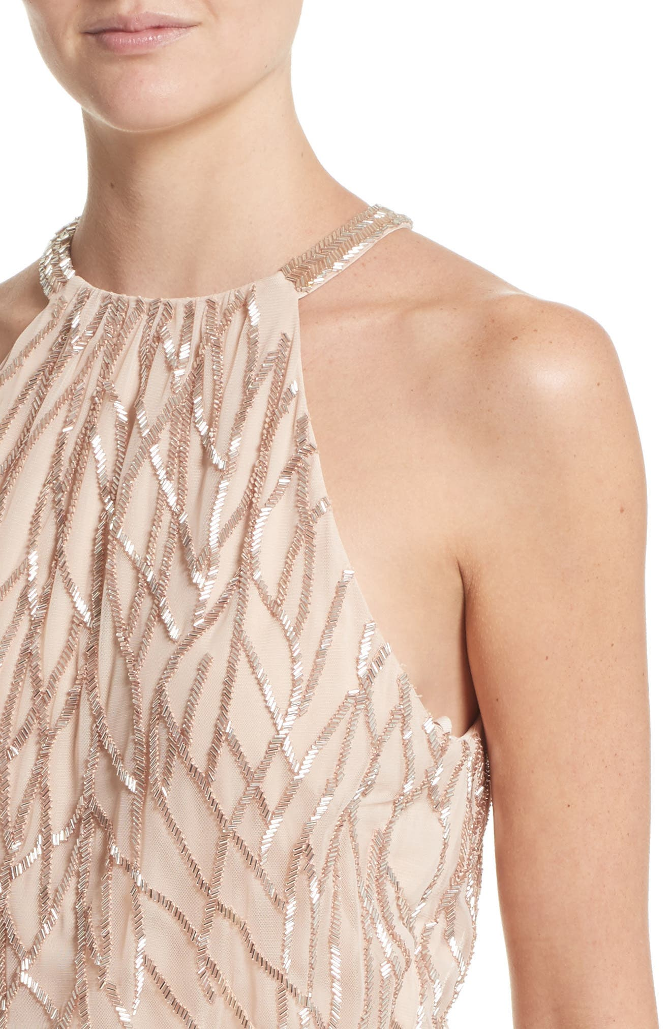 Alternate Image 5  - Rachel Gilbert Toriana Beaded Halter Style Sheath Dress