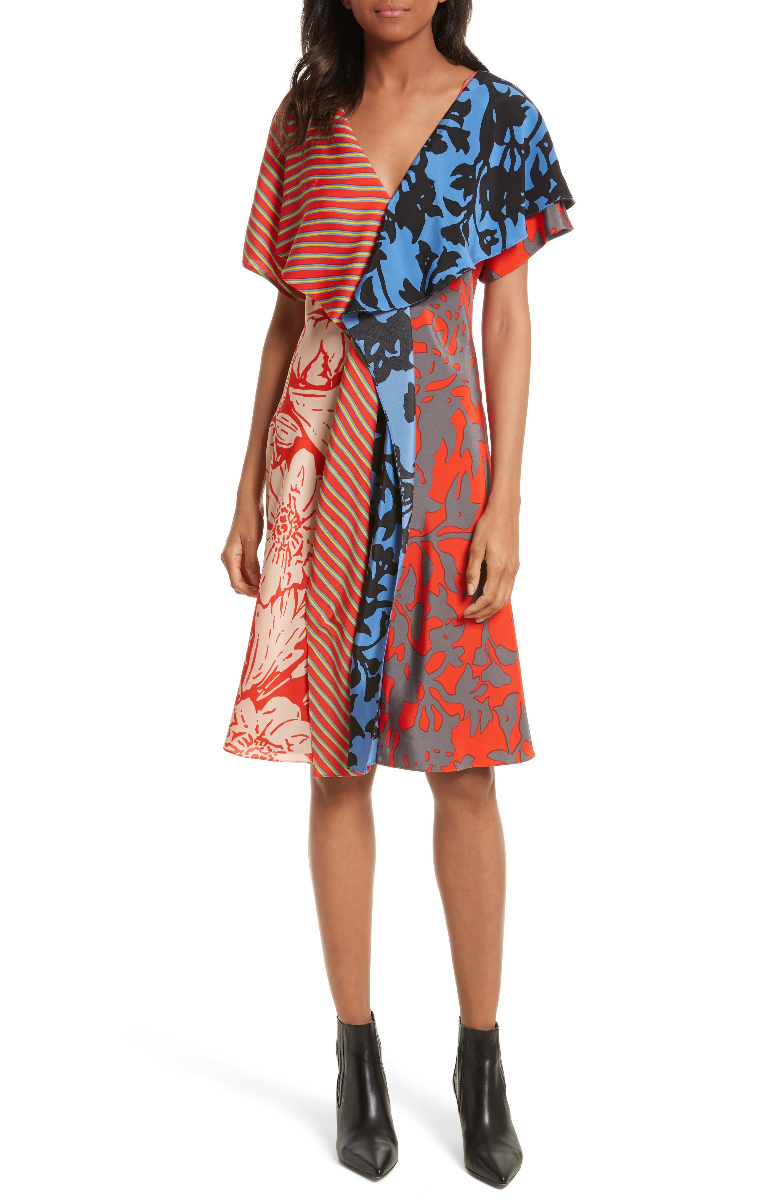 Mix Print Silk Ruffle Dress,                         Main,                         color, Red Multi