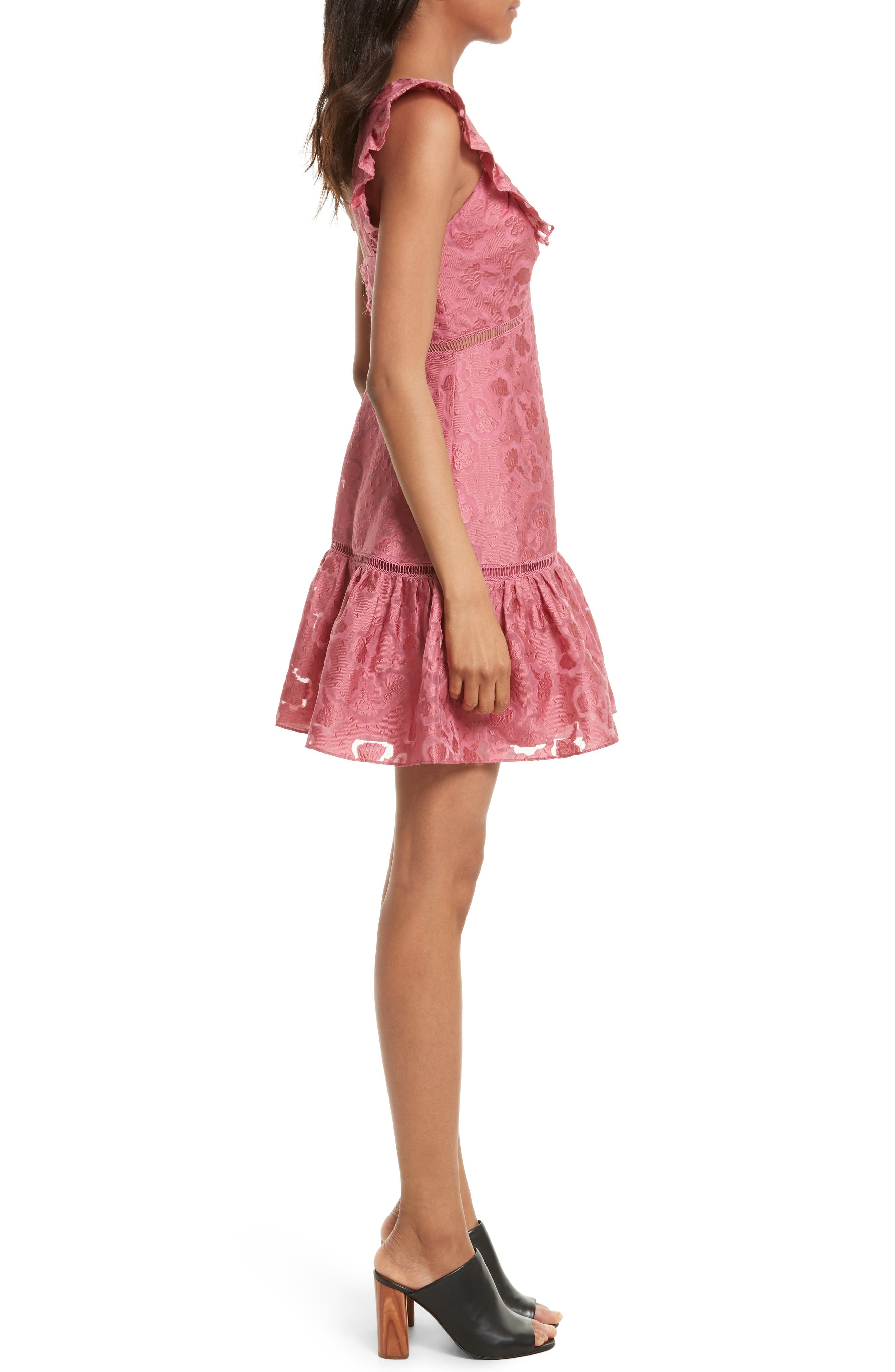 Aly Floral Jacquard Dress,                             Alternate thumbnail 3, color,                             Bloom