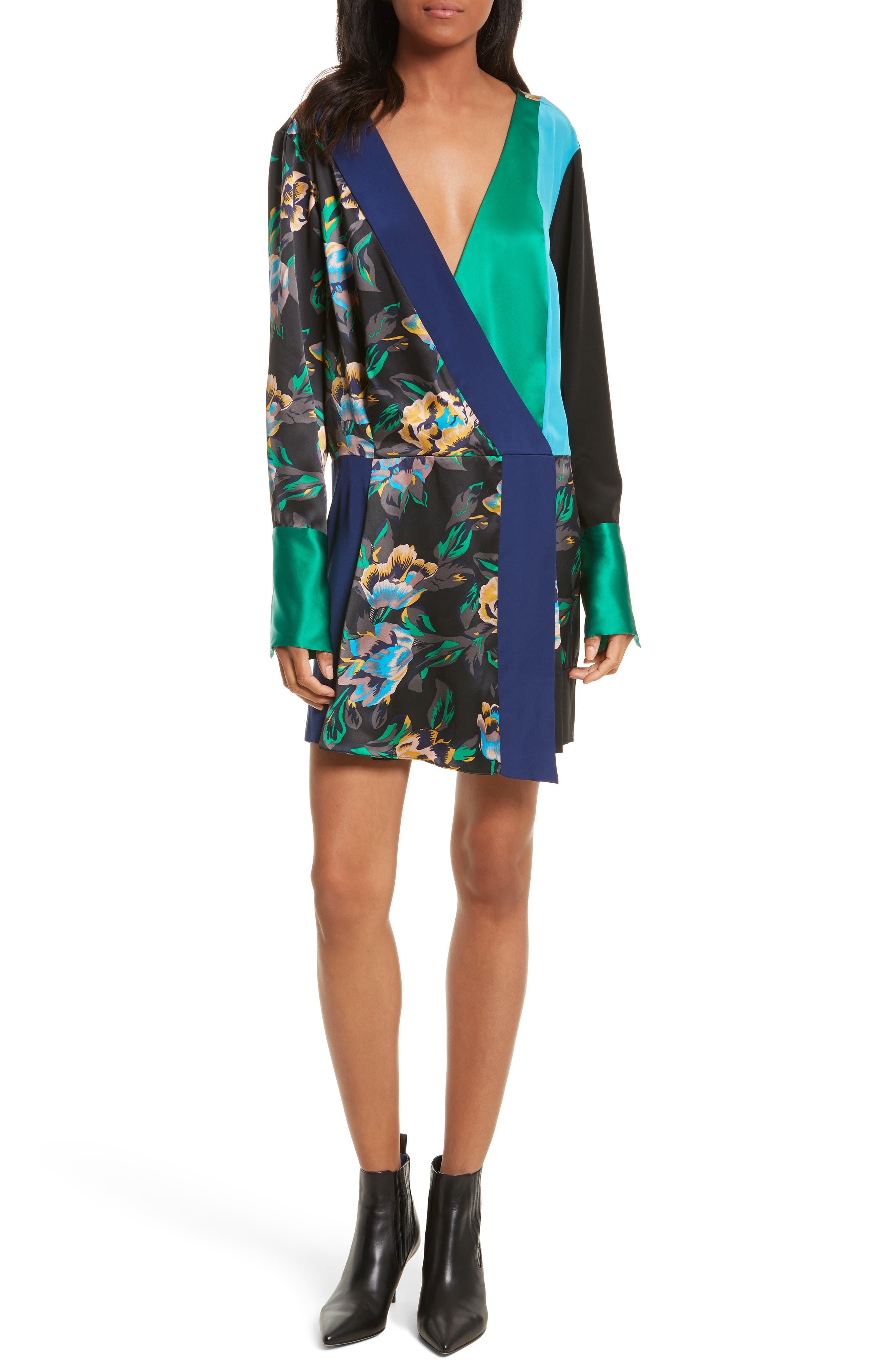 Mixed Media Crossover Silk Dress,                         Main,                         color, Benton Blue/ Evergreen