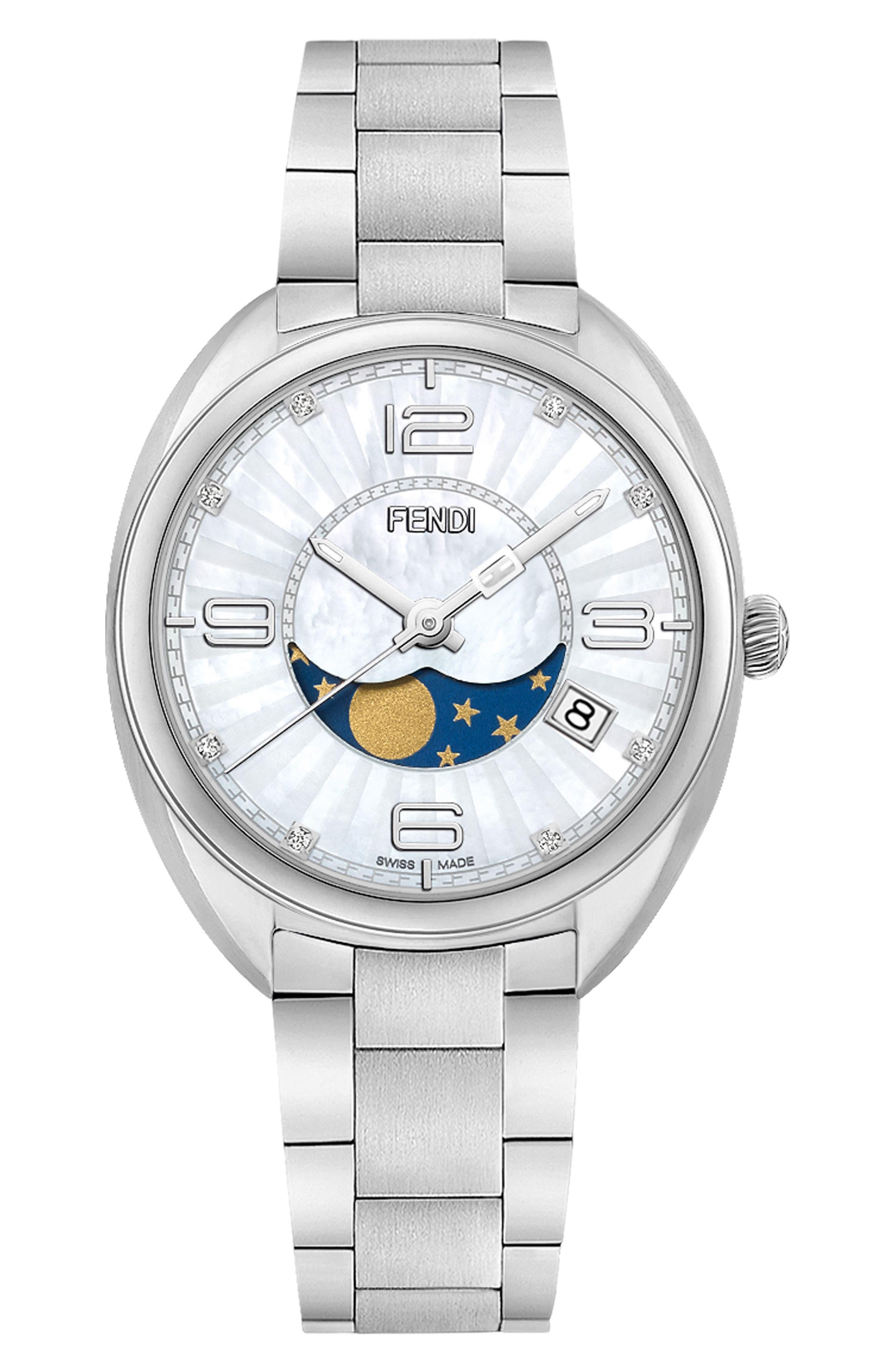 Momento Diamond Bracelet Watch, 34mm,                         Main,                         color, Silver/ Mop/ Silver