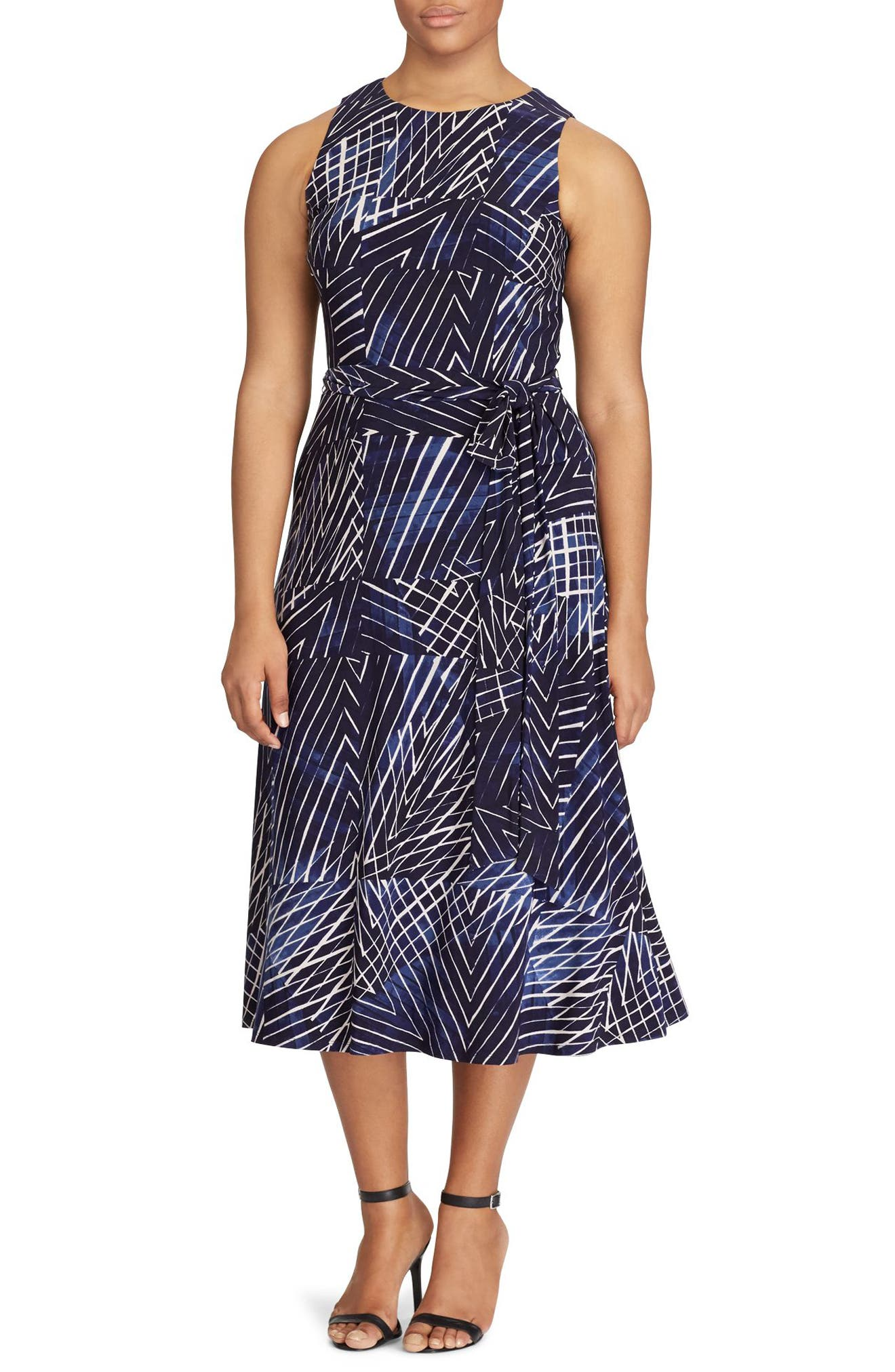 Print Jersey Fit & Flare Dress,                             Main thumbnail 1, color,                             Lighthouse Navy-Blue-Multi