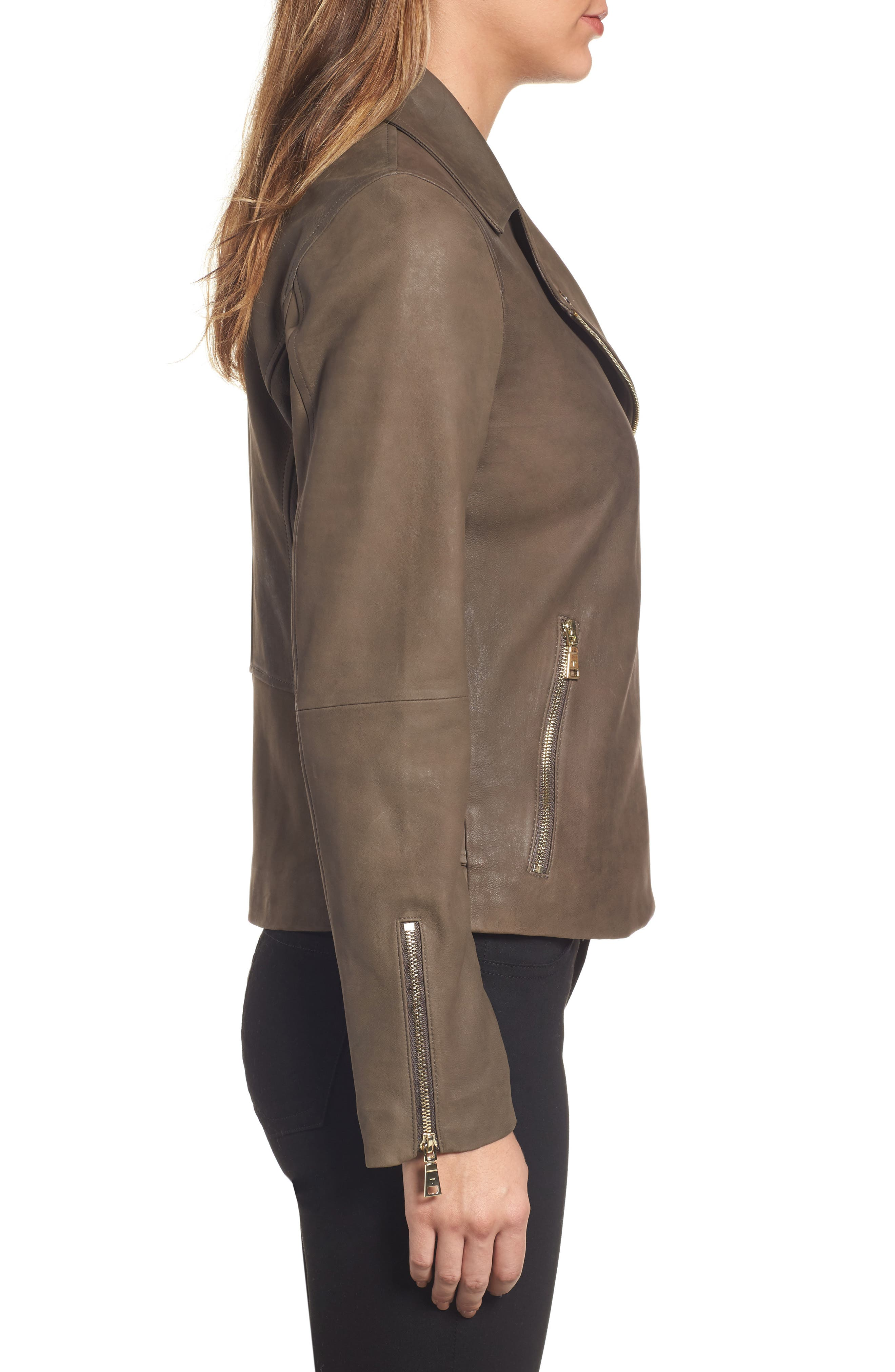 Alternate Image 3  - Tahari Skylar Leather Moto Jacket