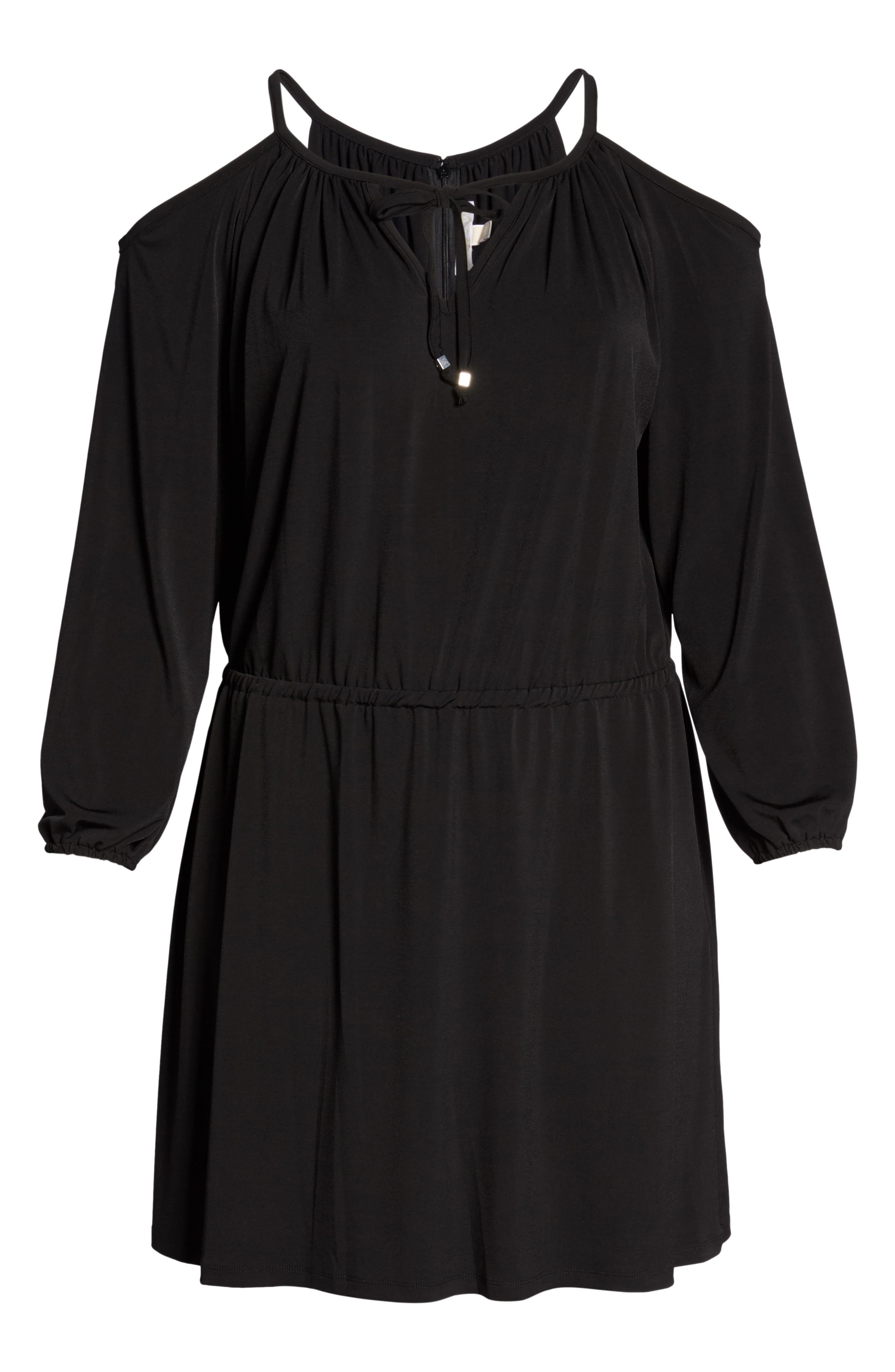 Cold Shoulder A-Line Jersey Dress,                             Alternate thumbnail 6, color,                             Black