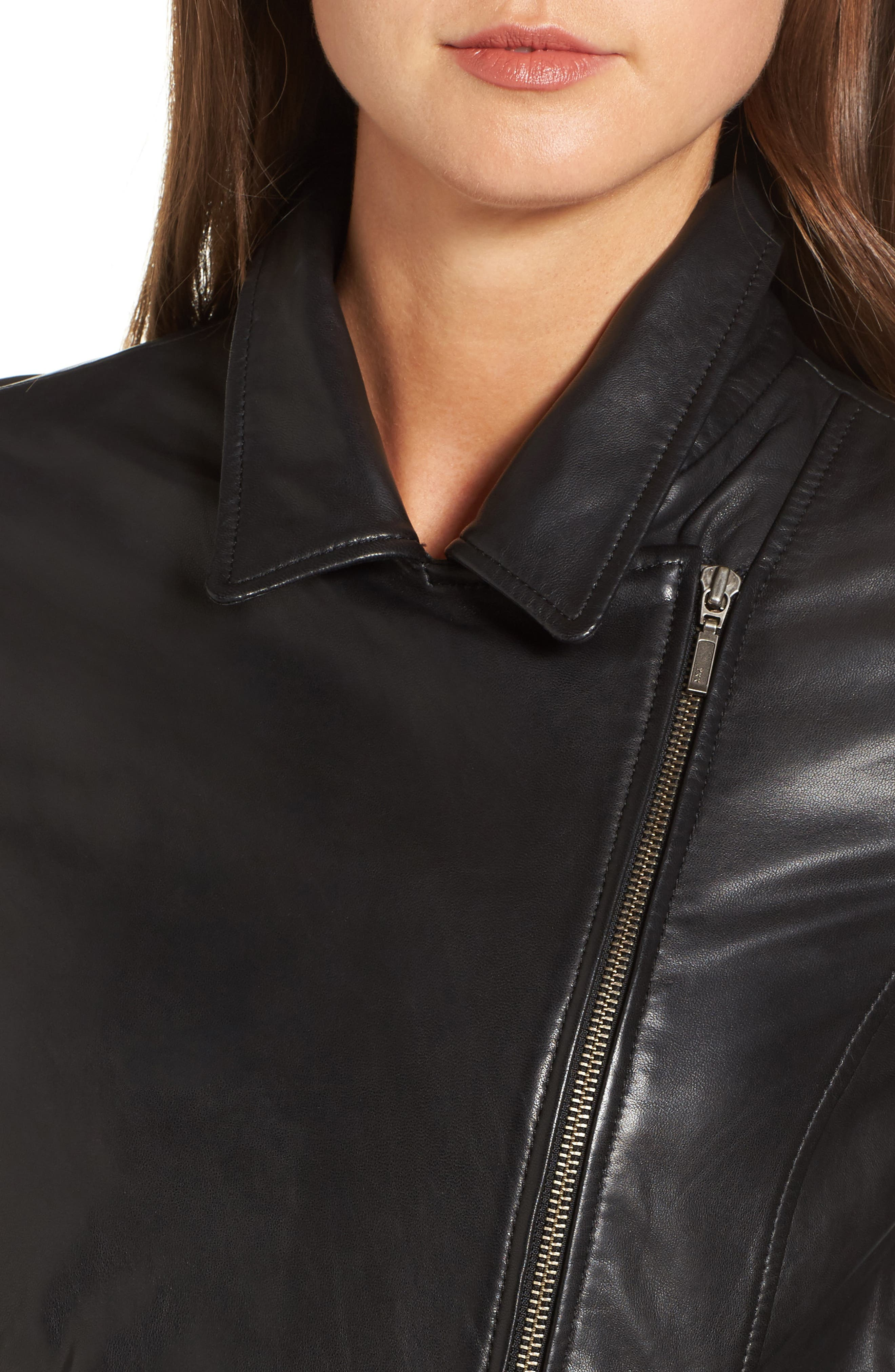 Alternate Image 4  - Halogen® Leather Moto Jacket (Regular & Petite)