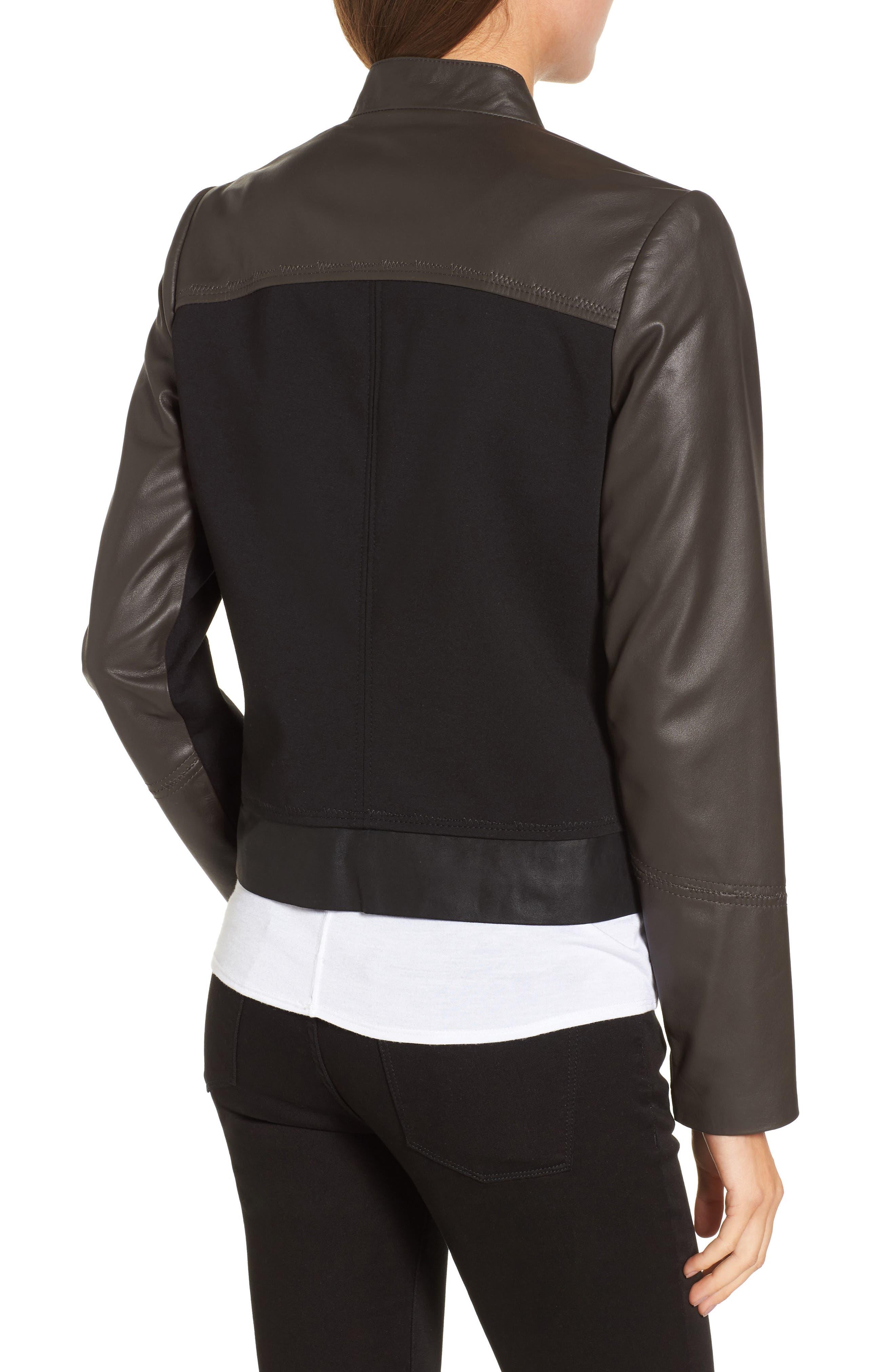 Alternate Image 2  - Via Spiga Colorblock Leather Jacket