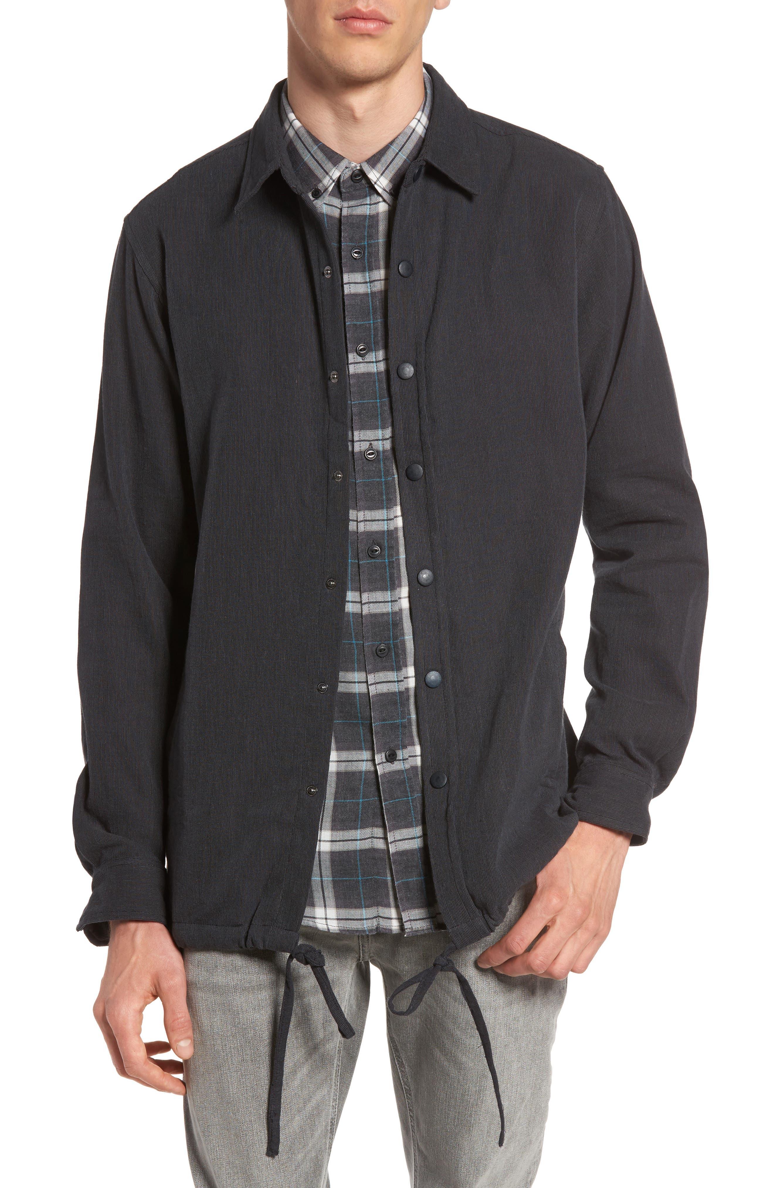 Textured Cotton Coach's Jacket,                         Main,                         color, Black