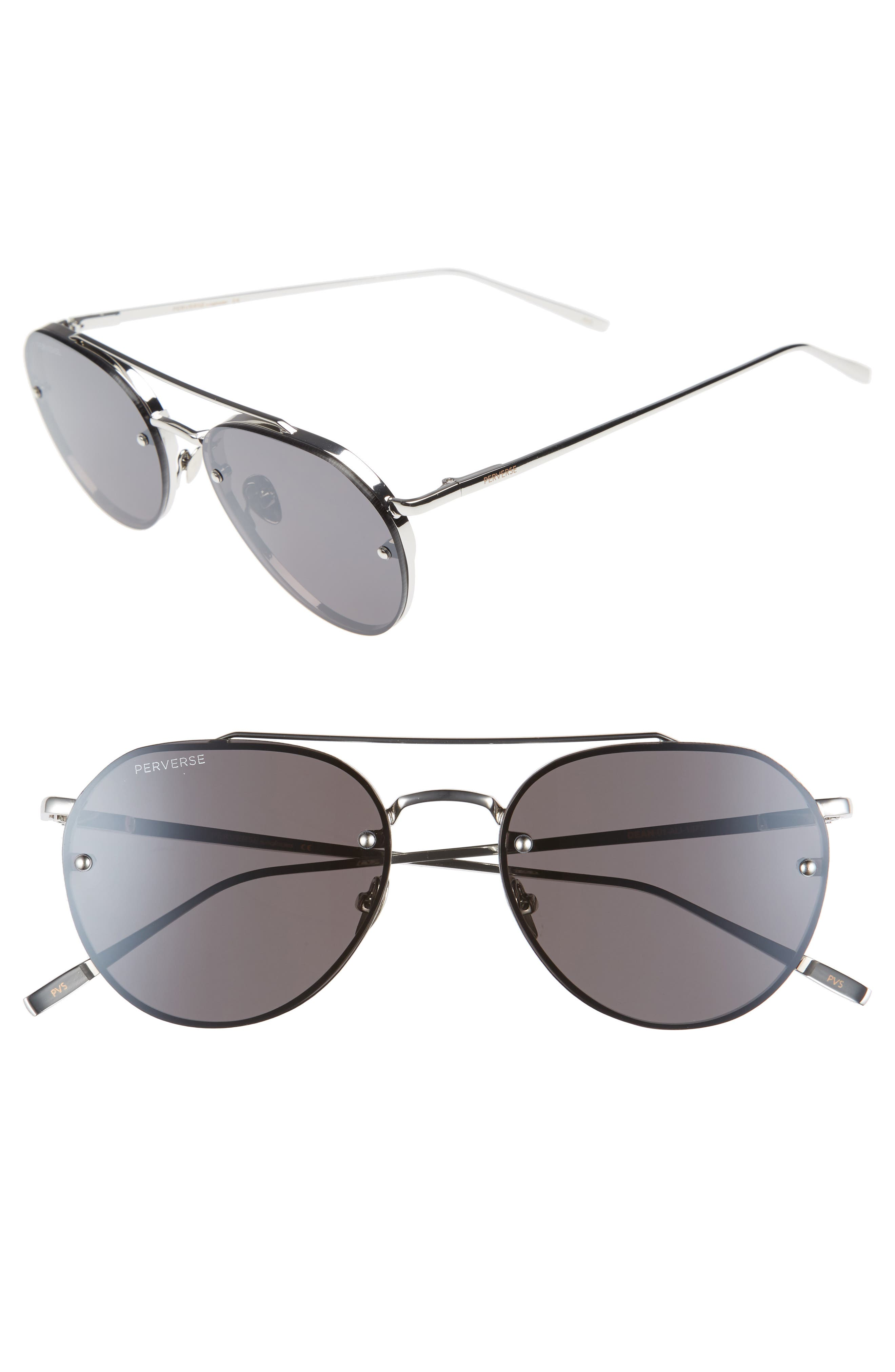 PERVERSE 56mm Round Stainless Steel Aviator Sunglasses