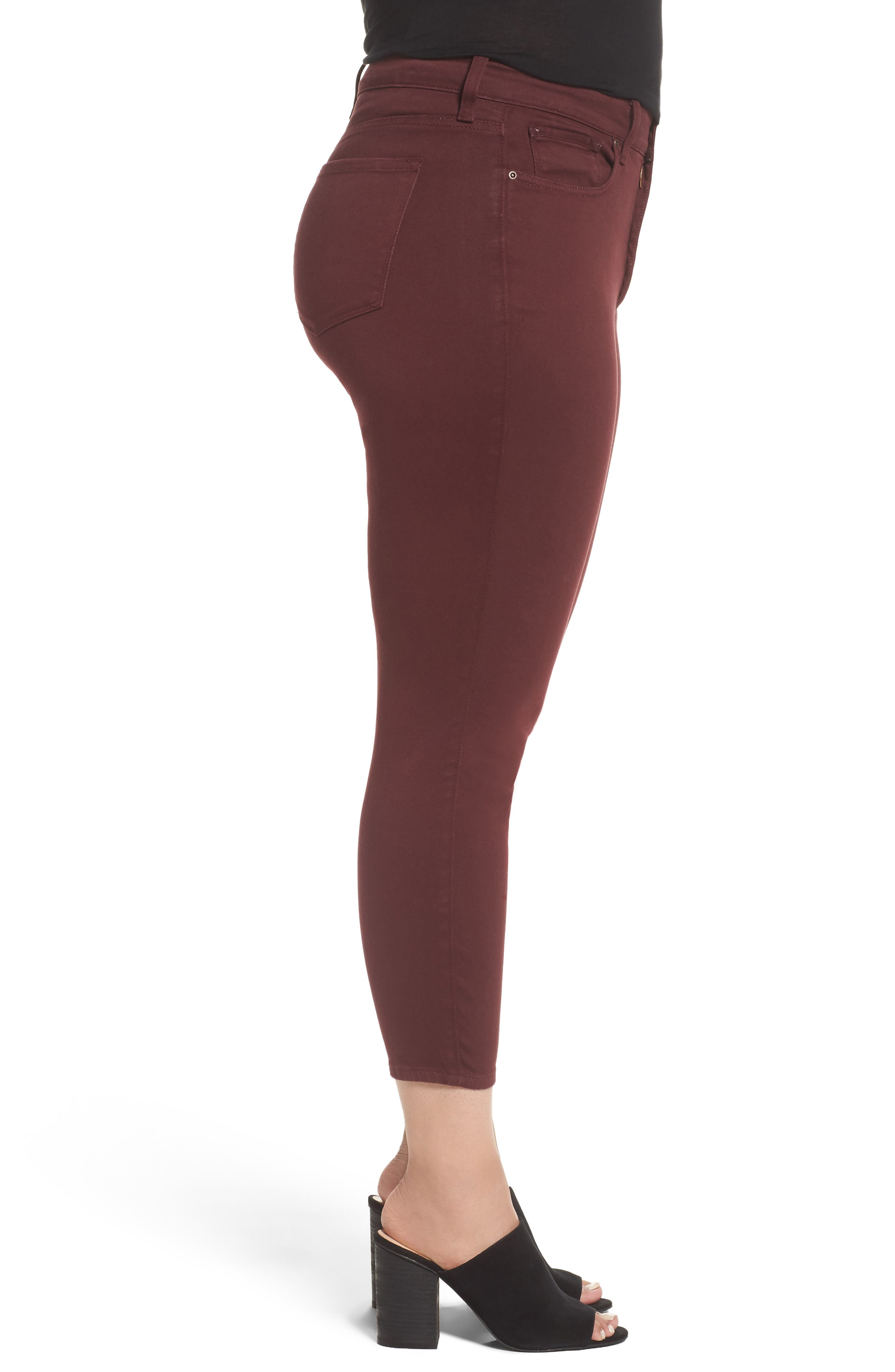 Ami Stretch Skinny Jeans,                             Alternate thumbnail 3, color,                             Deep Currant