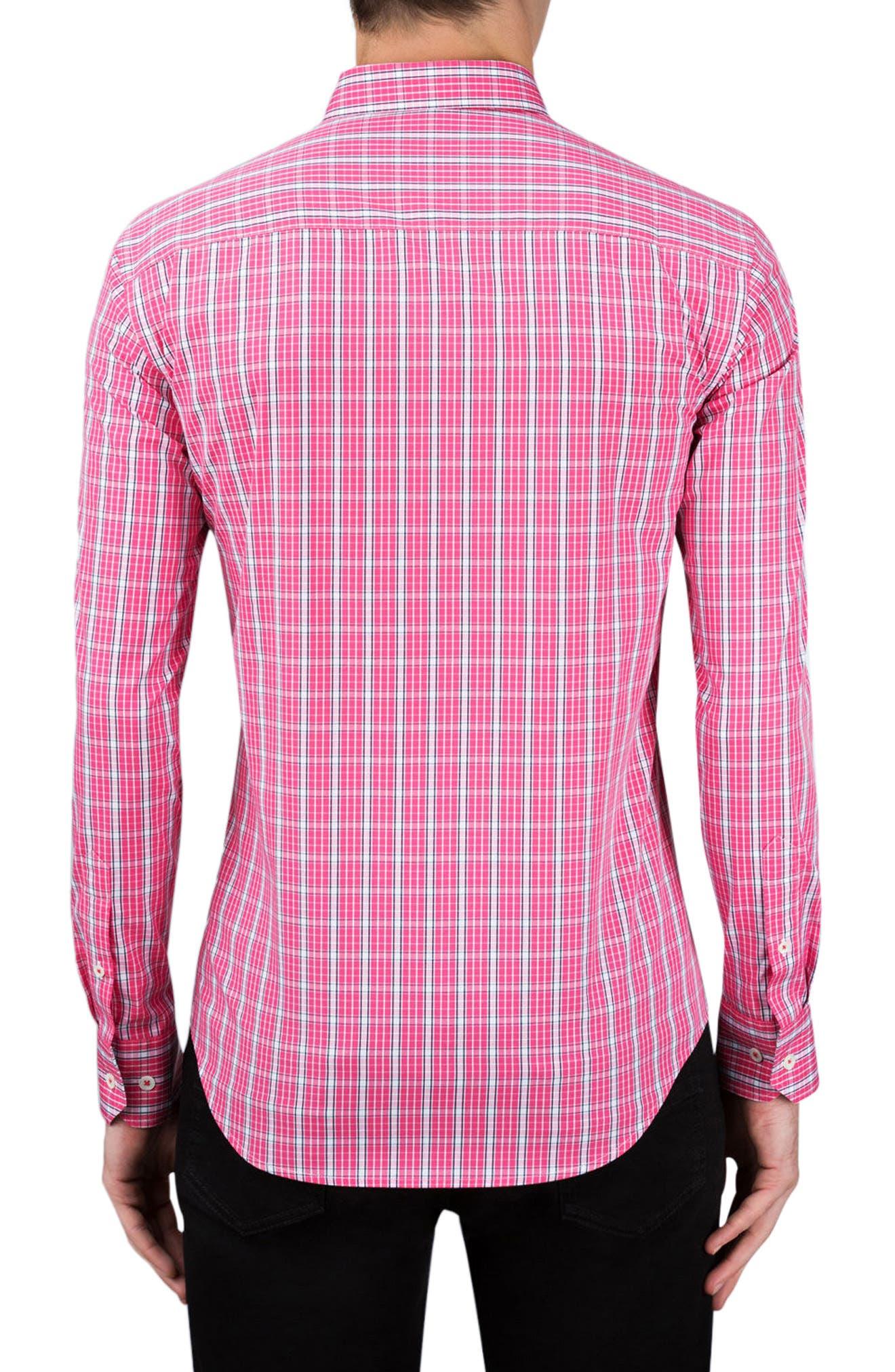 Classic Fit Grid Print Sport Shirt,                             Alternate thumbnail 2, color,                             Pink