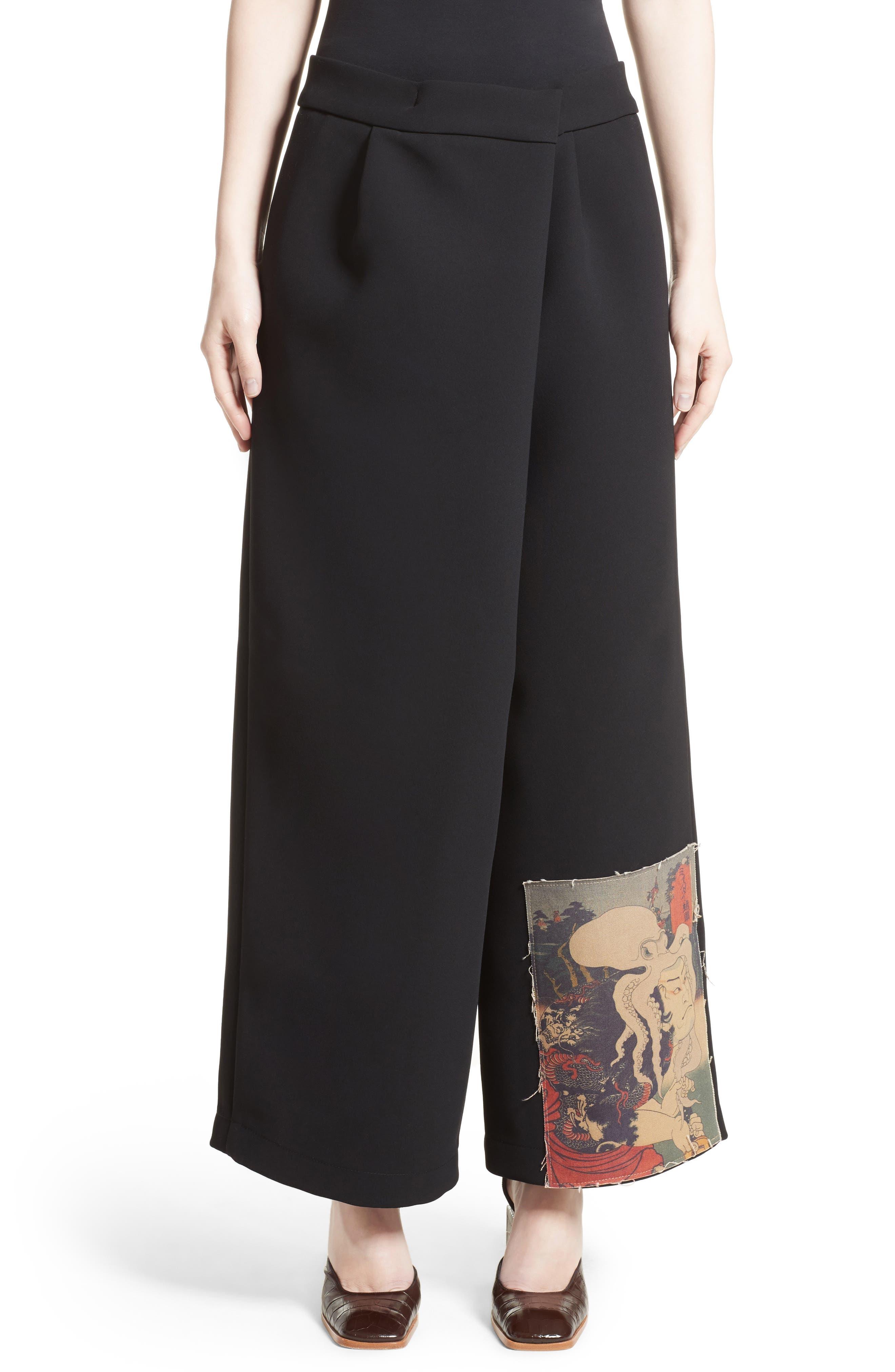 Patch Detail Wide Leg Pants,                         Main,                         color, Black
