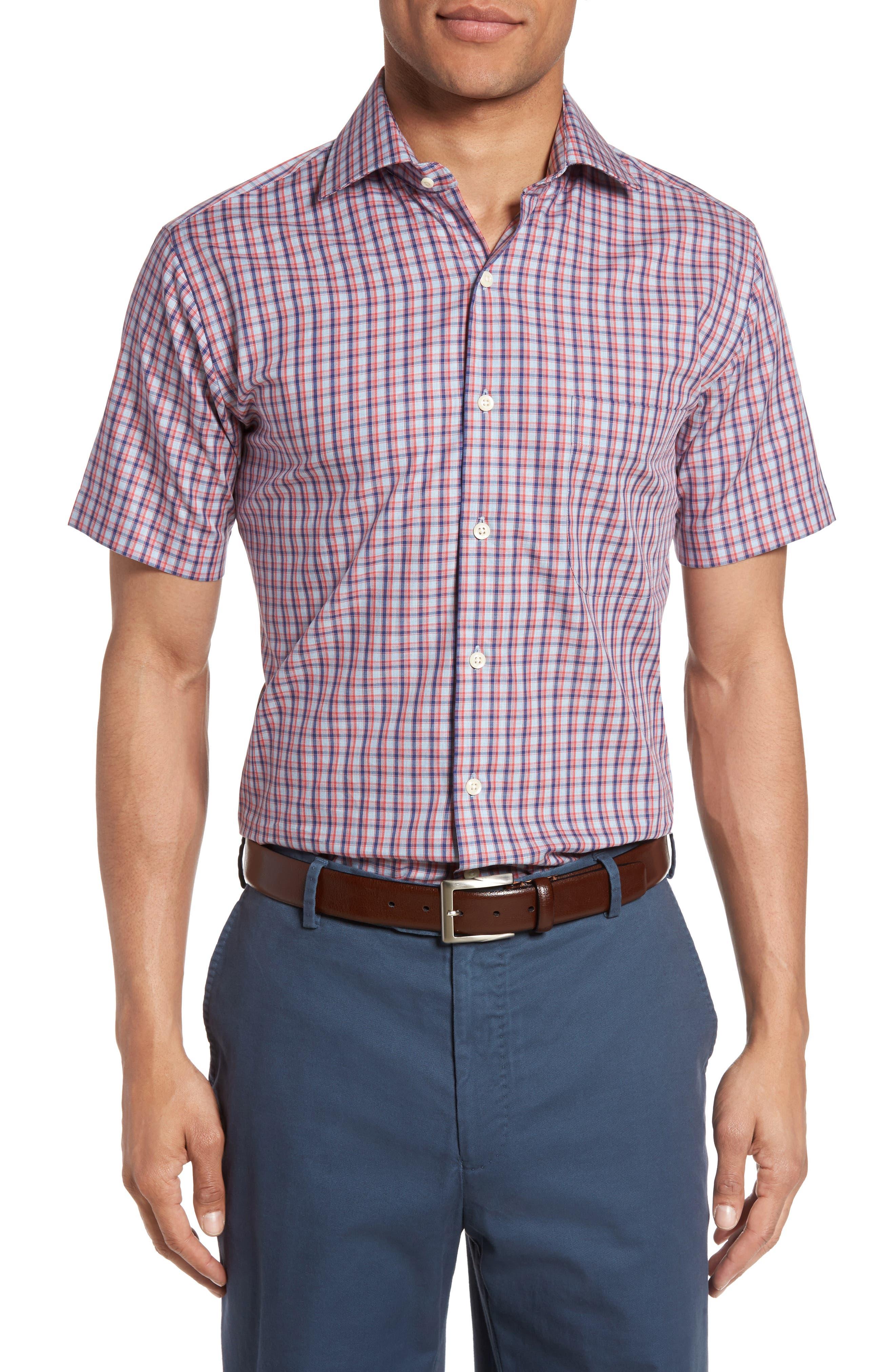 Peter Millar Regular Fit Short Sleeve Crisp Pane Sport Shirt