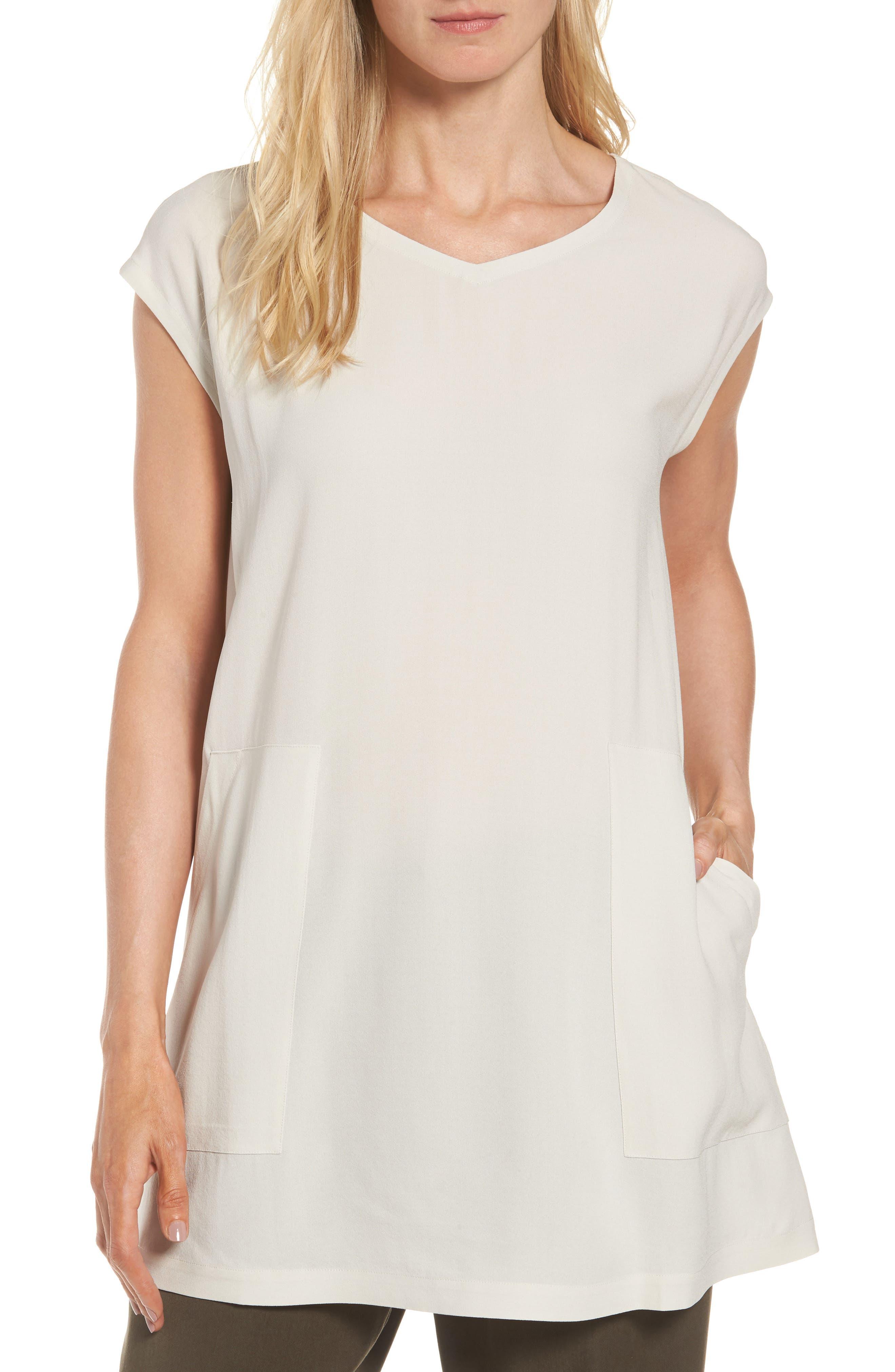 Eileen Fisher Silk Crepe Tunic (Regular & Petite)