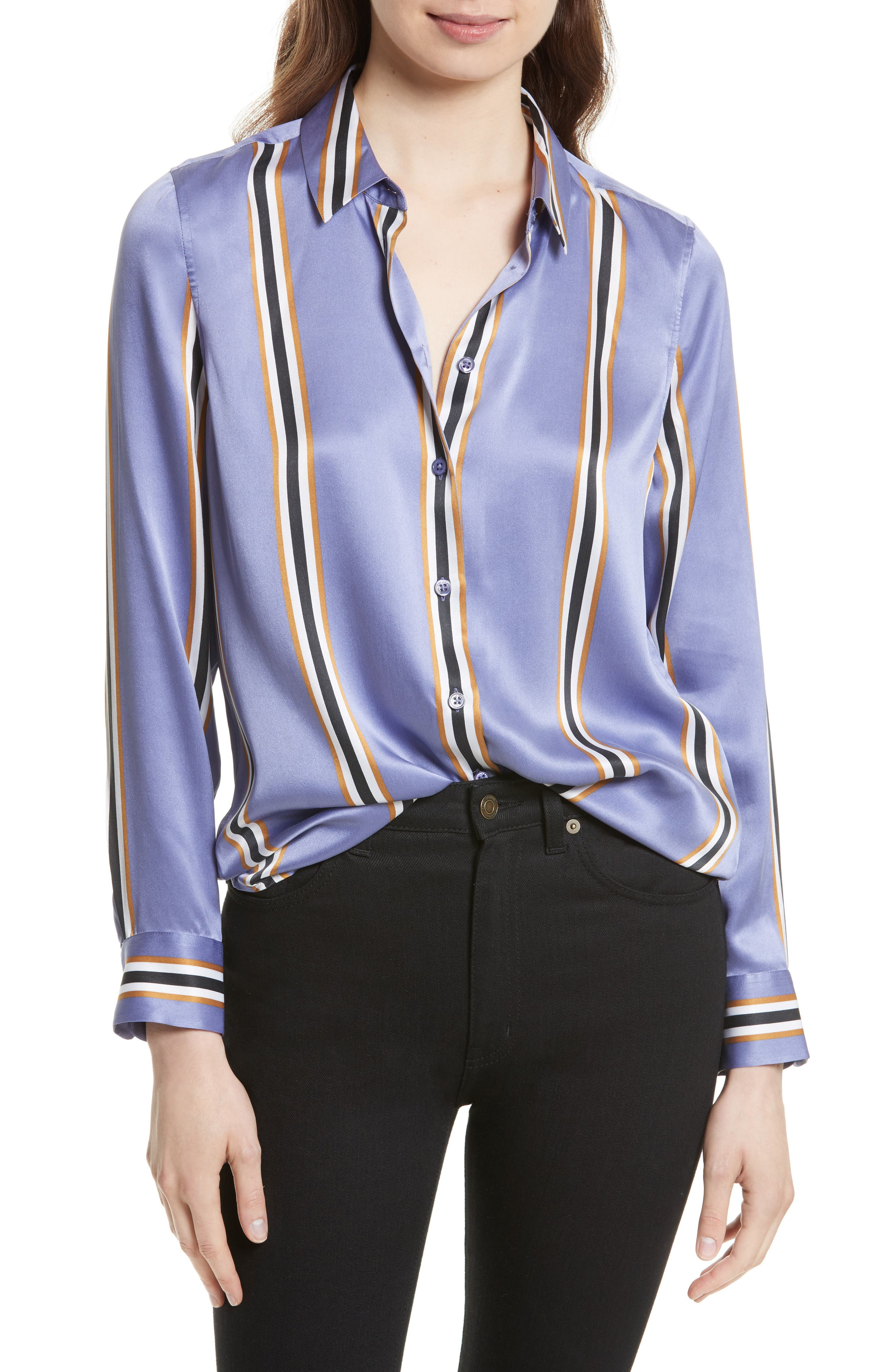 Essential Print Silk Shirt,                             Main thumbnail 1, color,                             Ultra Violet
