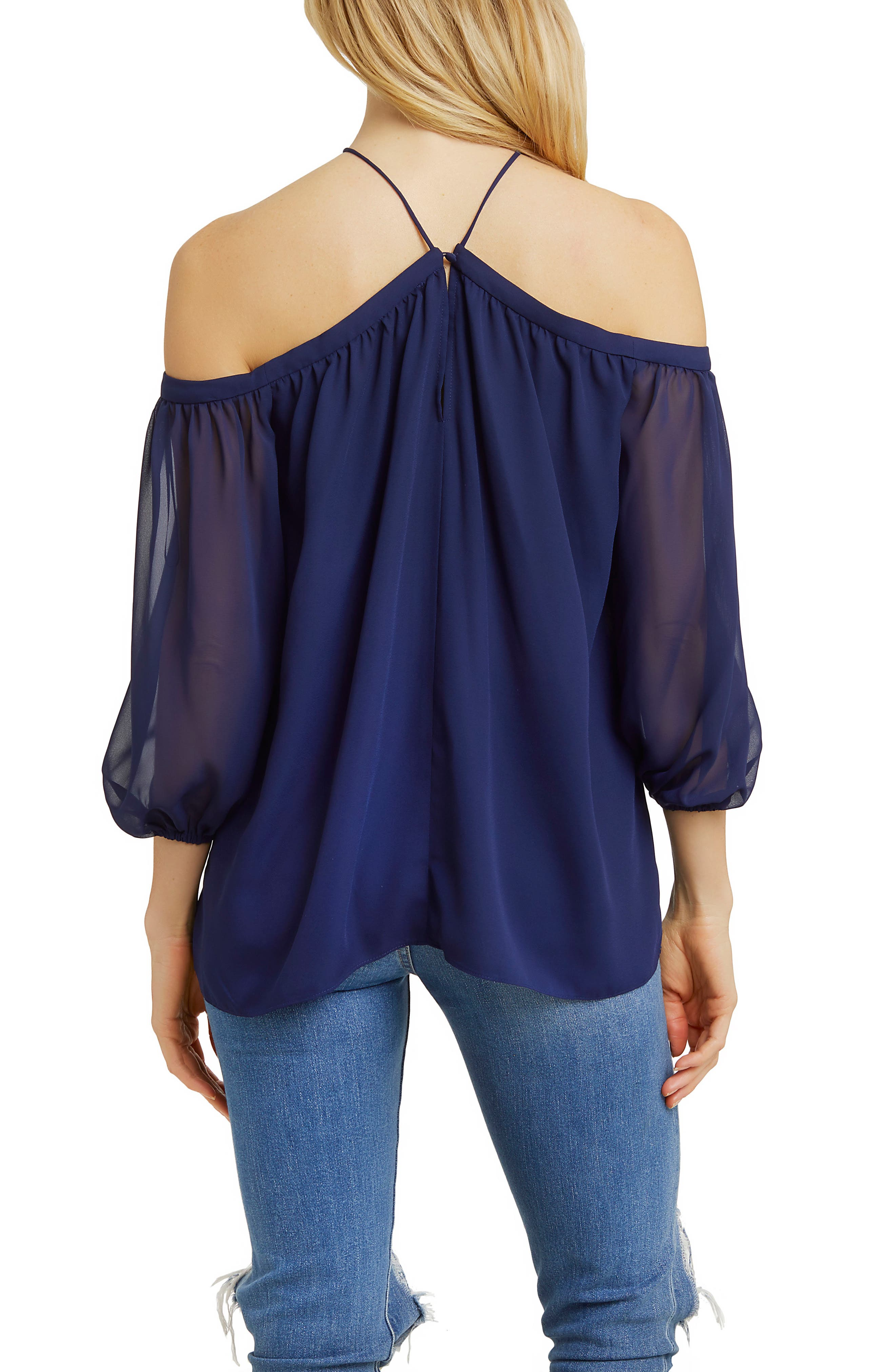 Alternate Image 2  - 1.STATE Off the Shoulder Sheer Chiffon Blouse