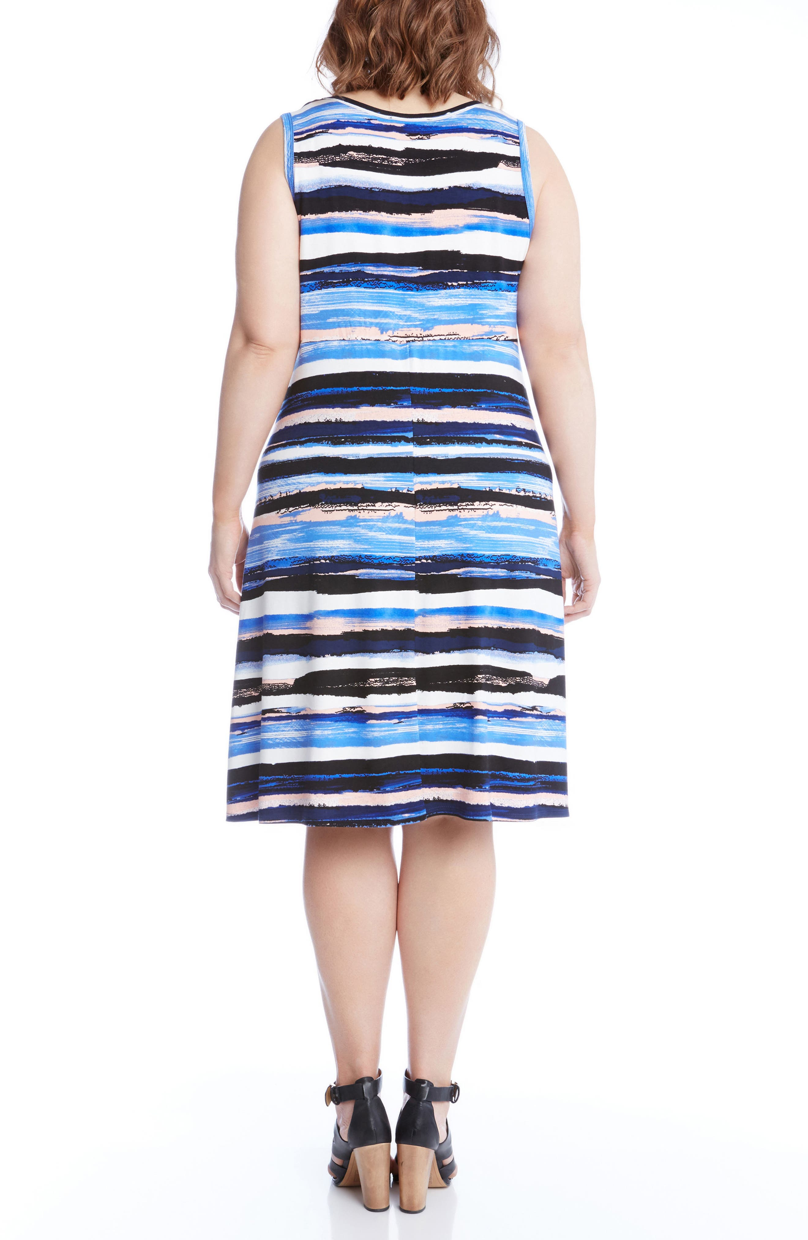 Alternate Image 2  - KAren Kane Painted Stripe A-Line Dress (Plus Size)