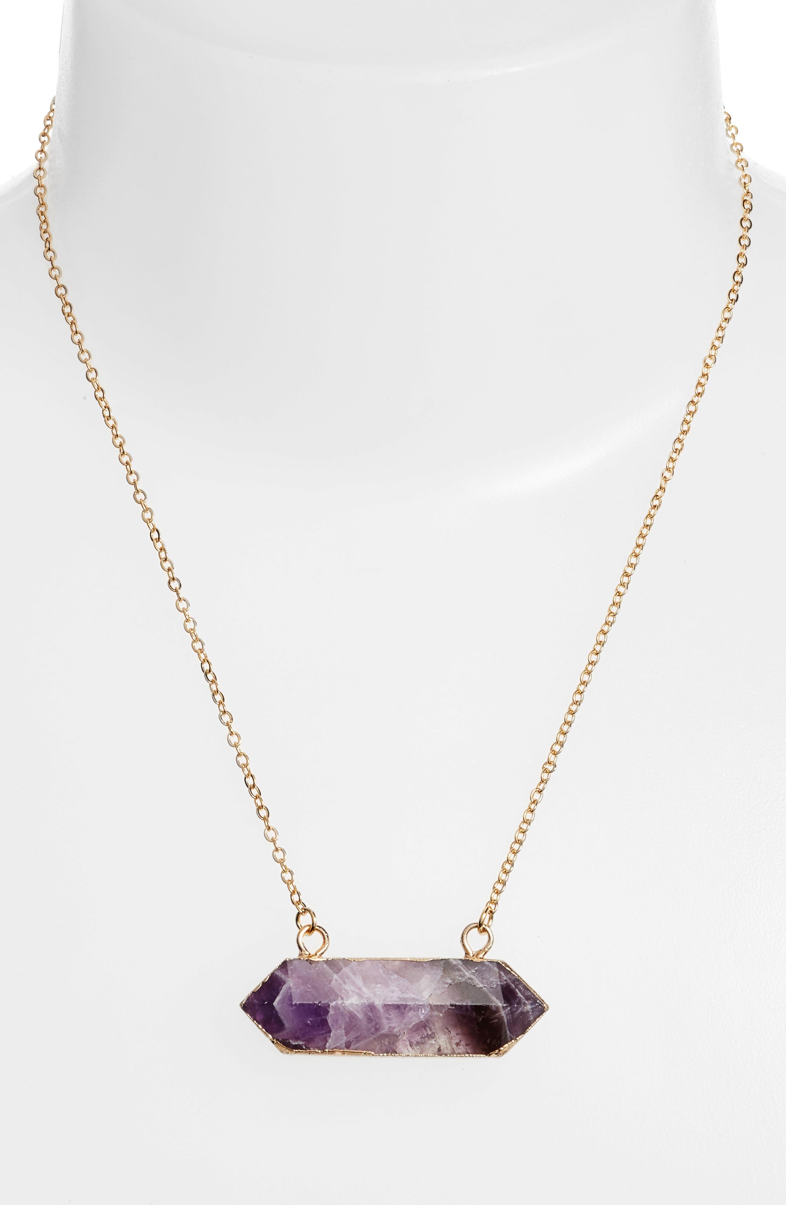 Riva Stone Pendant Necklace,                             Alternate thumbnail 2, color,                             Amethyst