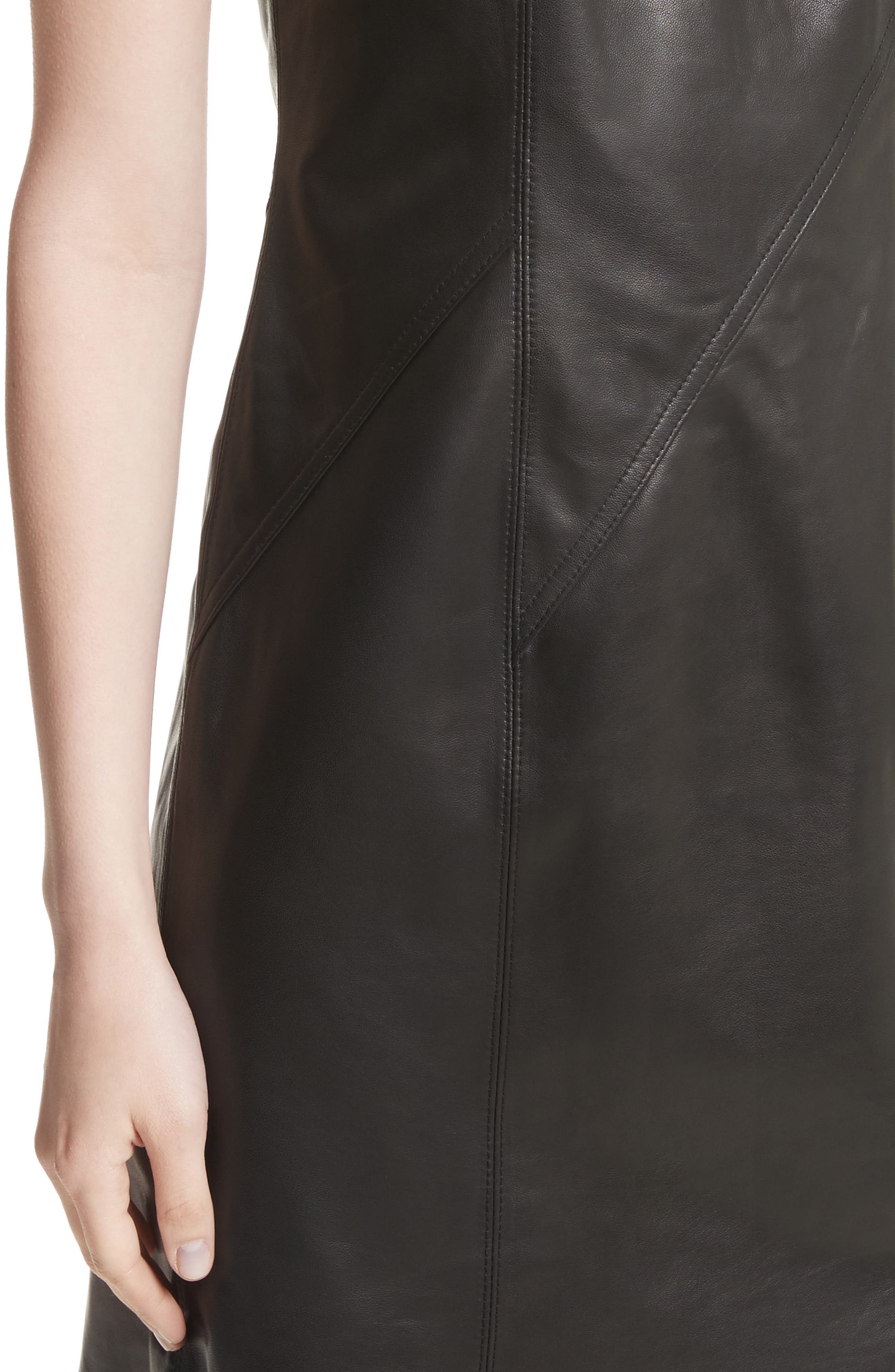Loxley Leather Dress,                             Alternate thumbnail 4, color,                             Black