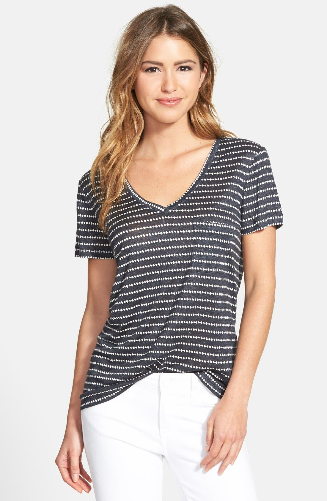 Main Image - Caslon® Print V-Neck Linen Tee (Regular & Petite)