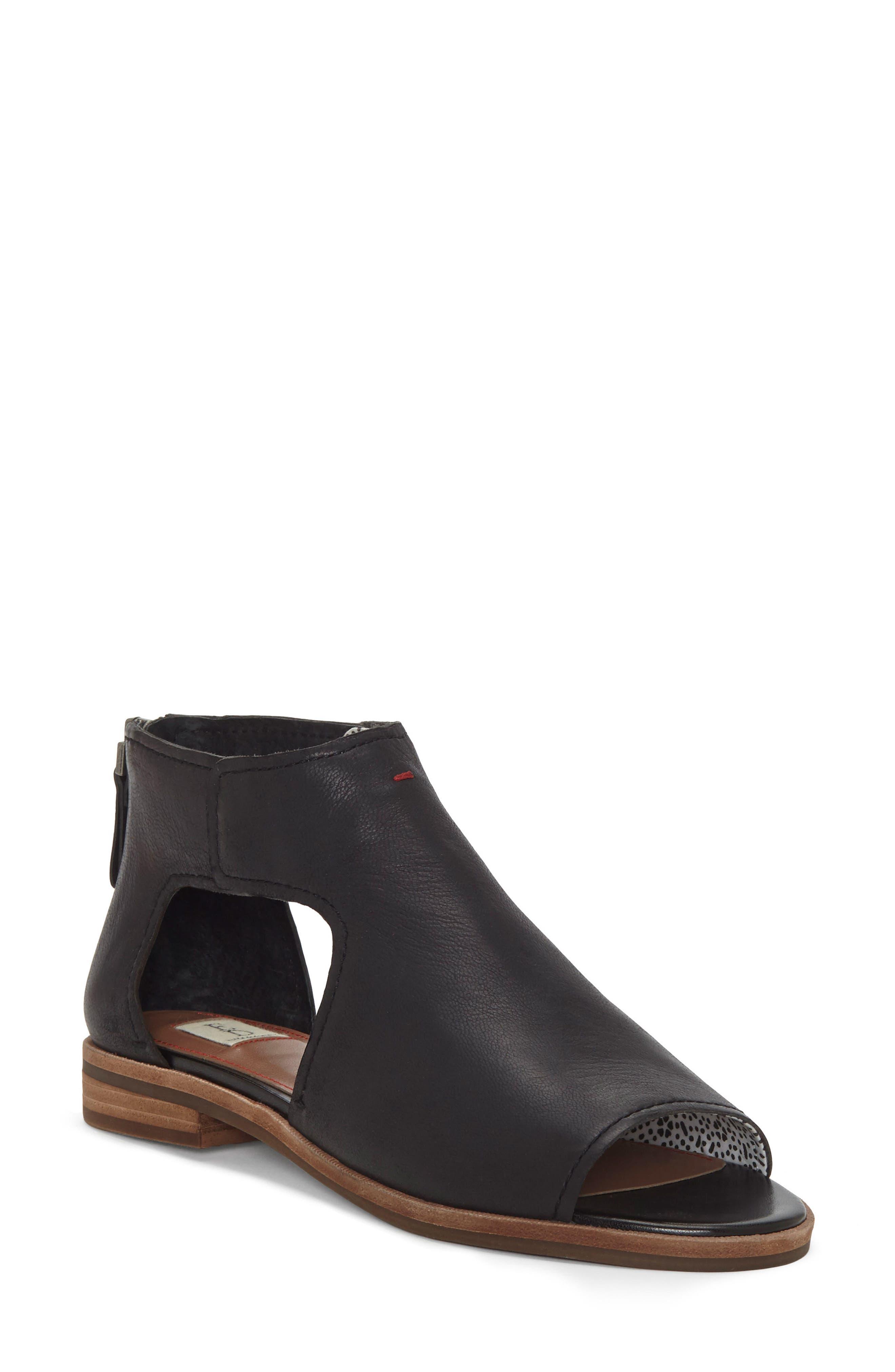 Surah Cutout Sandal,                         Main,                         color, Black Leather